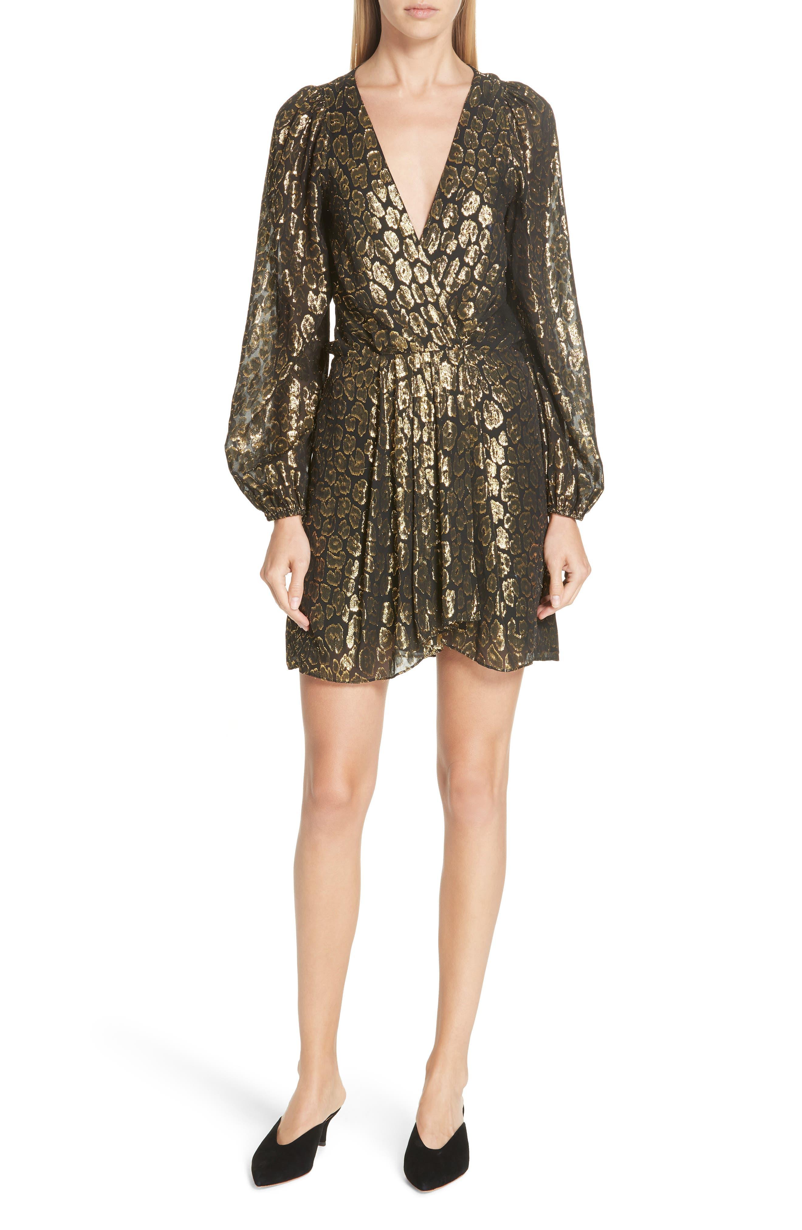 A.L.C. Elsa Marina Leopard Fil Coupé Dress, Main, color, 001
