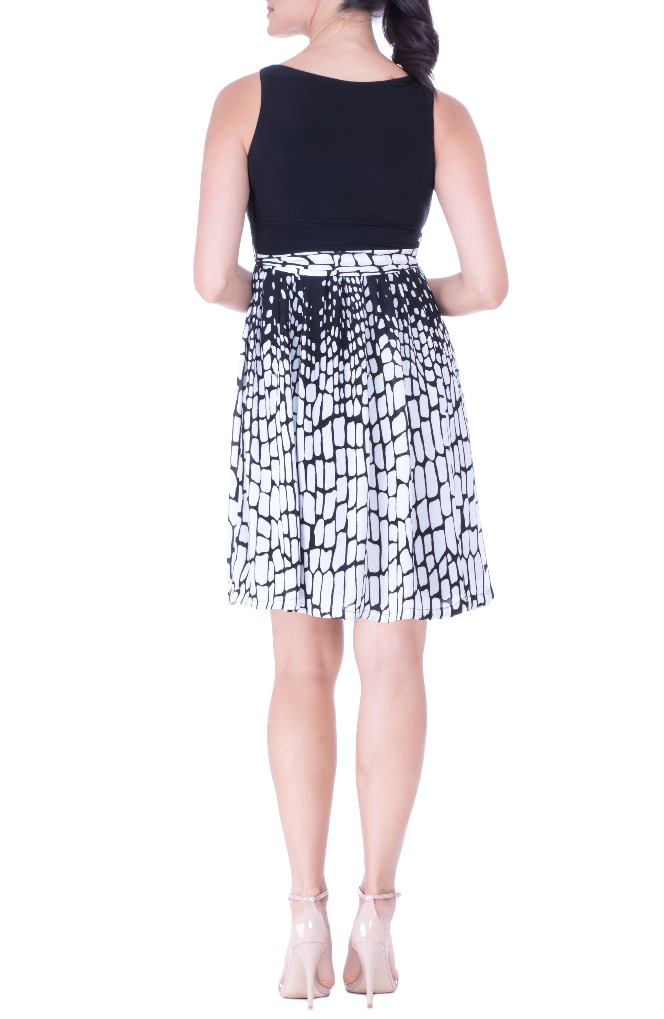 Print Maternity Dress,                             Alternate thumbnail 2, color,                             BLACK/ WHITE