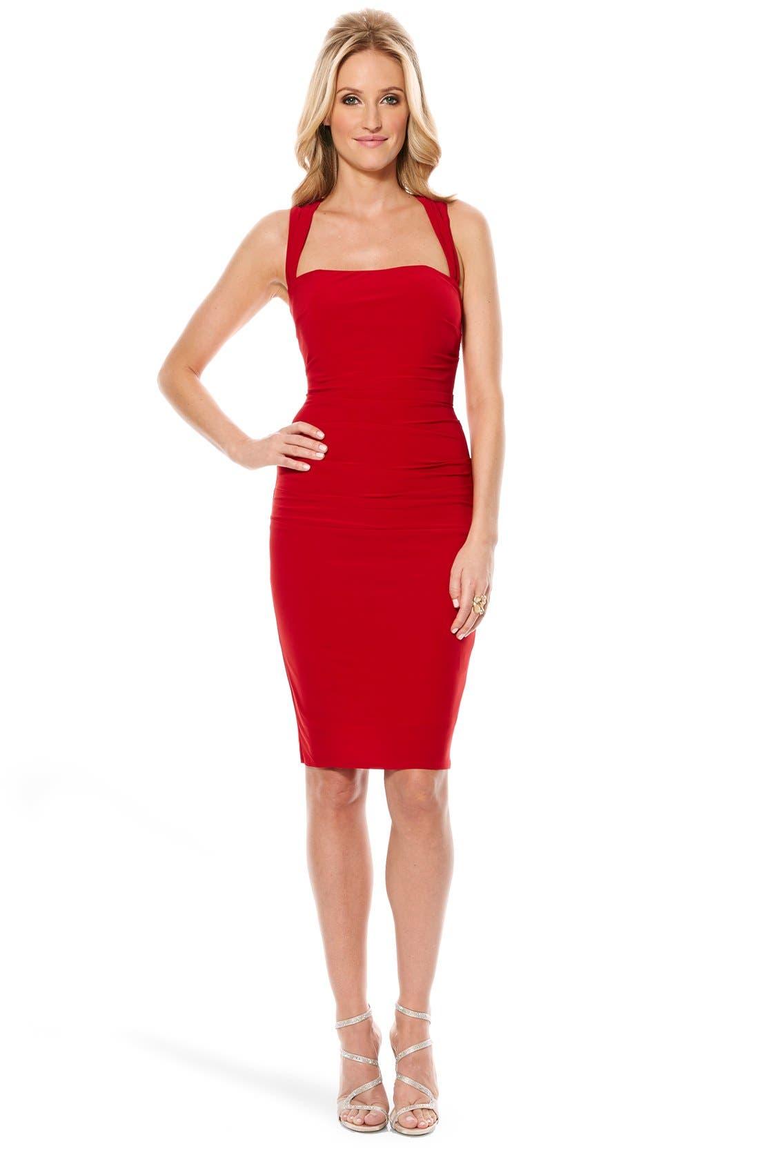 Twist Back Jersey Body-Con Dress,                             Alternate thumbnail 19, color,