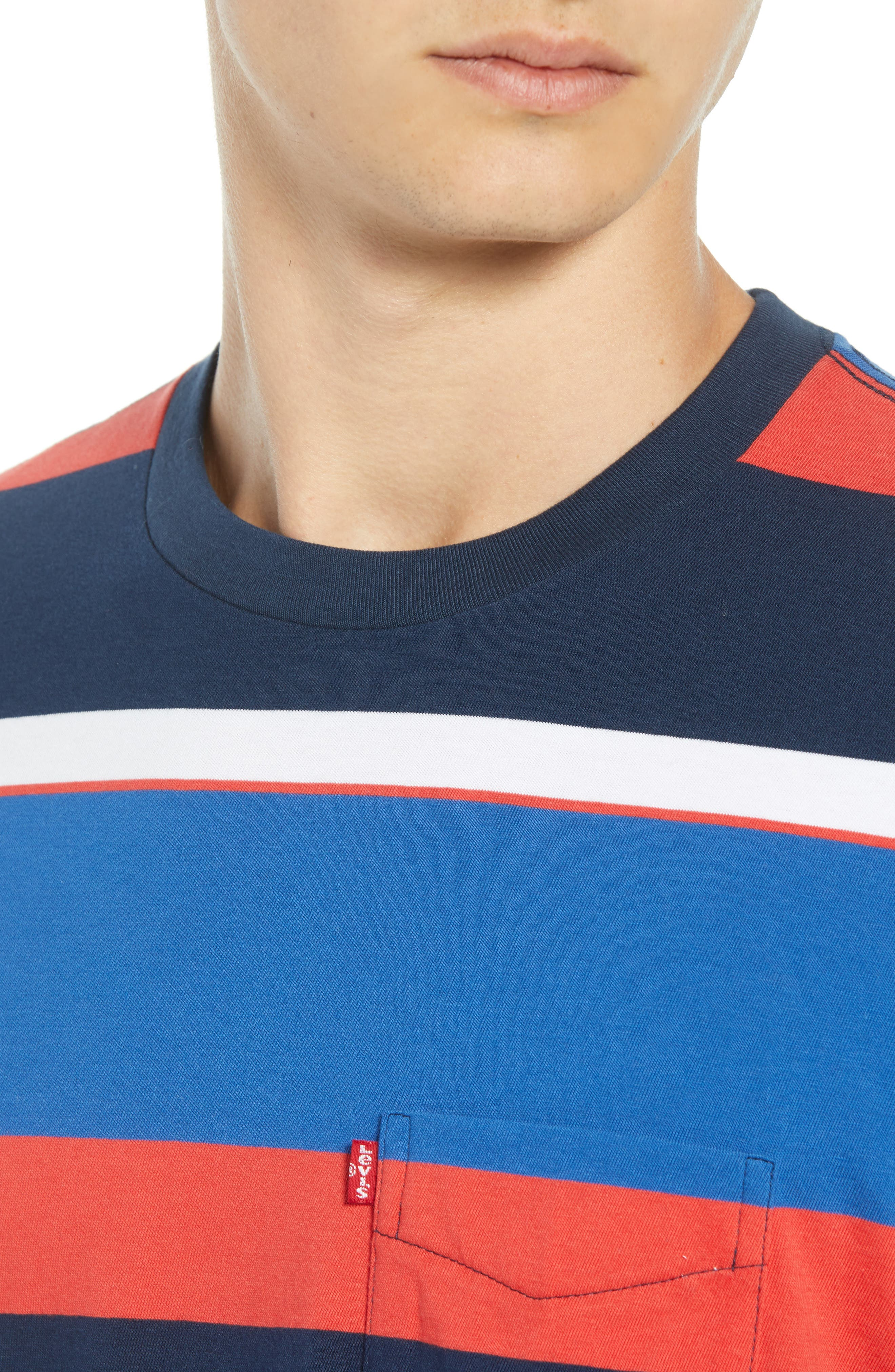 Levi's Sunset Stripe Pocket T-Shirt,                             Alternate thumbnail 4, color,                             SIXTIES RUGBY