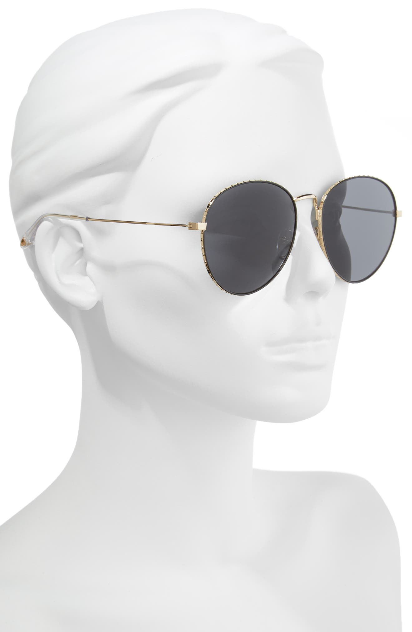 60mm Round Metal Sunglasses,                             Alternate thumbnail 2, color,                             GOLD