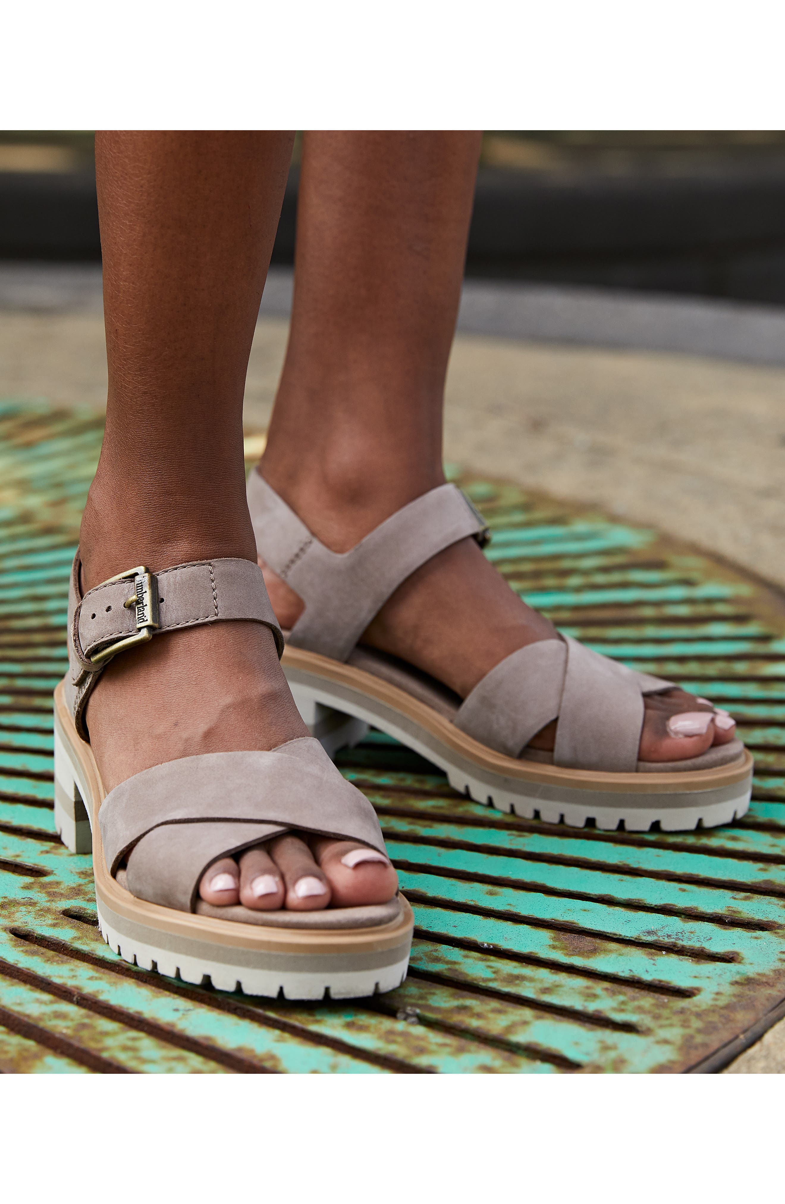 TIMBERLAND,                             Violet March Crisscross Sandal,                             Alternate thumbnail 7, color,                             TAUPE NUBUCK LEATHER