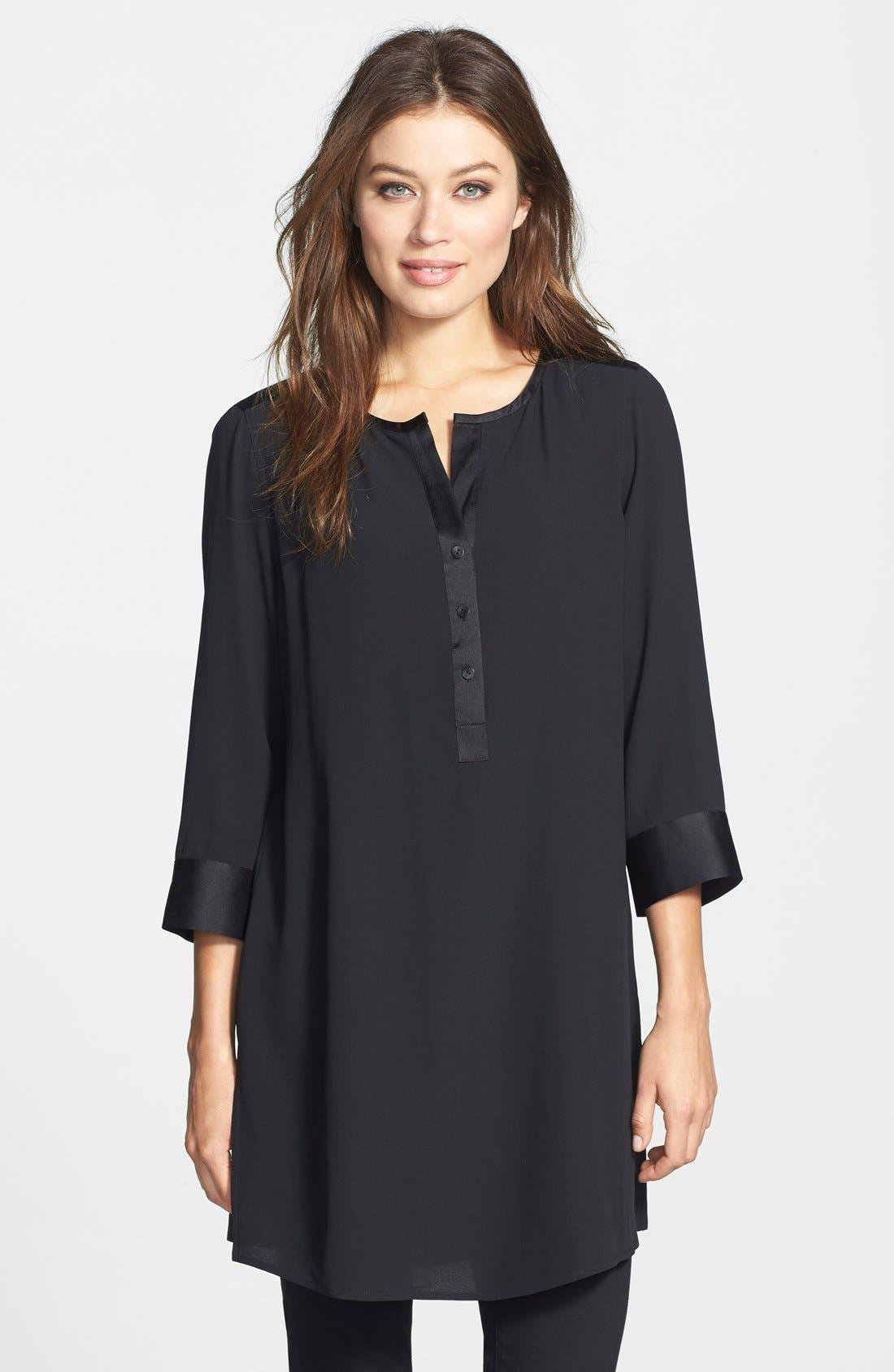 Silk Georgette Crepe Tunic, Main, color, 001