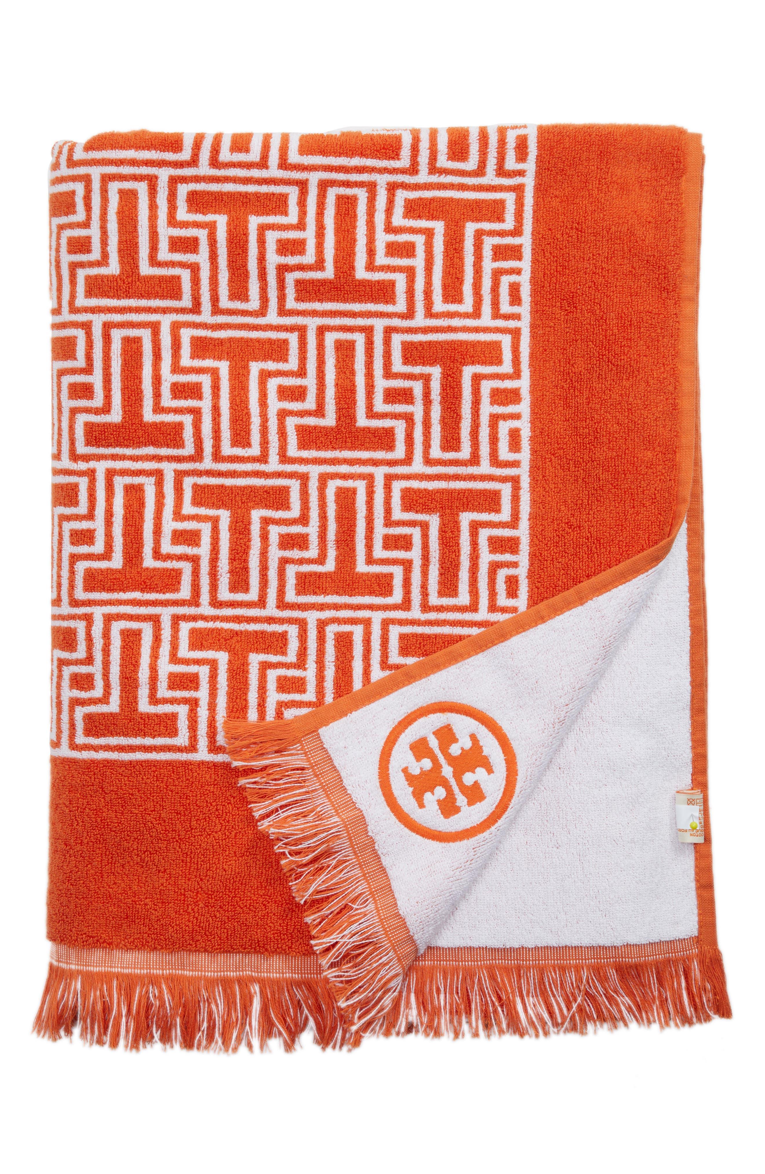 T-Tiles Beach Towel,                         Main,                         color, ORANGE