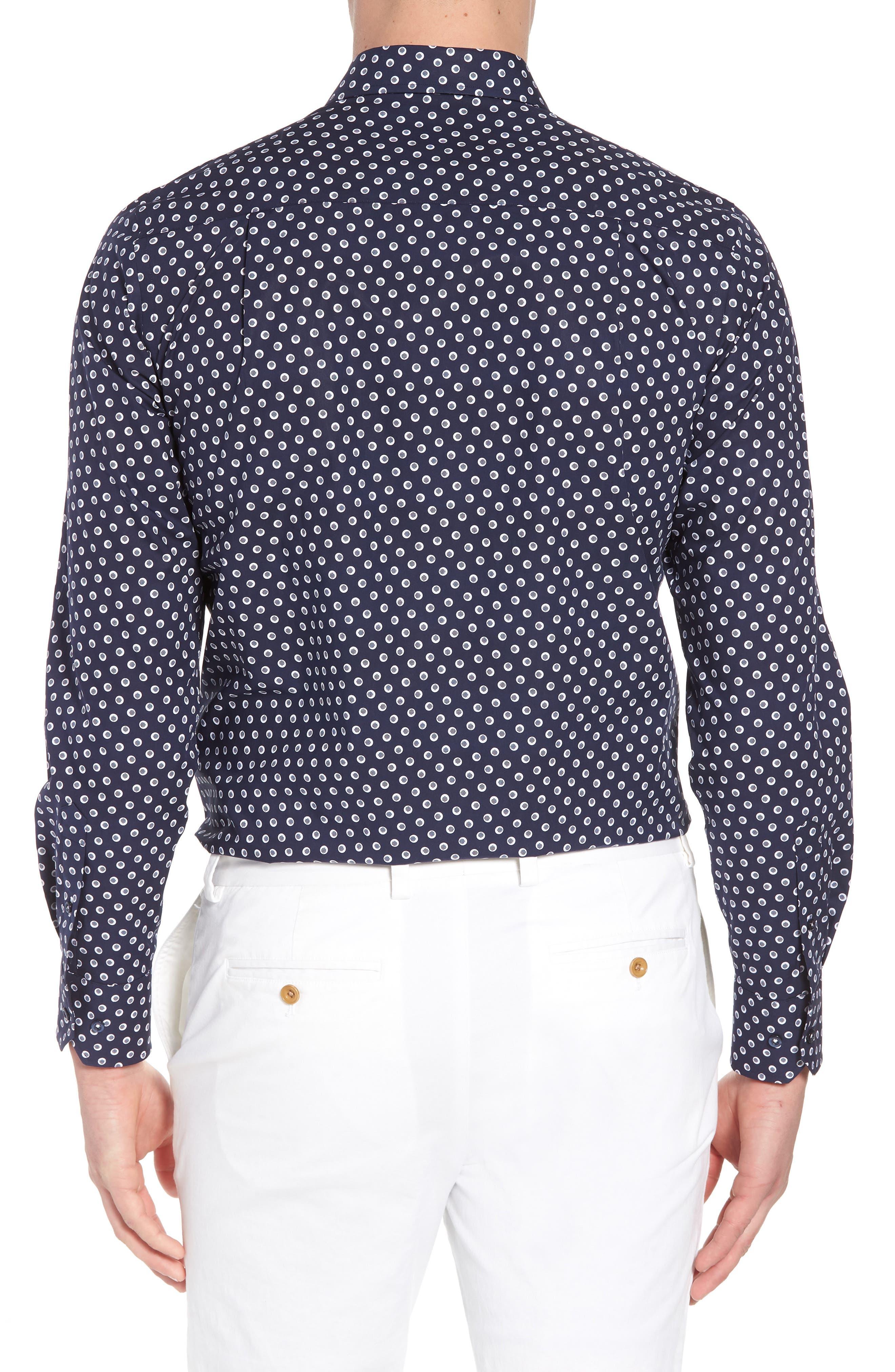 Regular Fit Dot Print Sport Shirt,                             Alternate thumbnail 2, color,                             NAVY/ WHITE