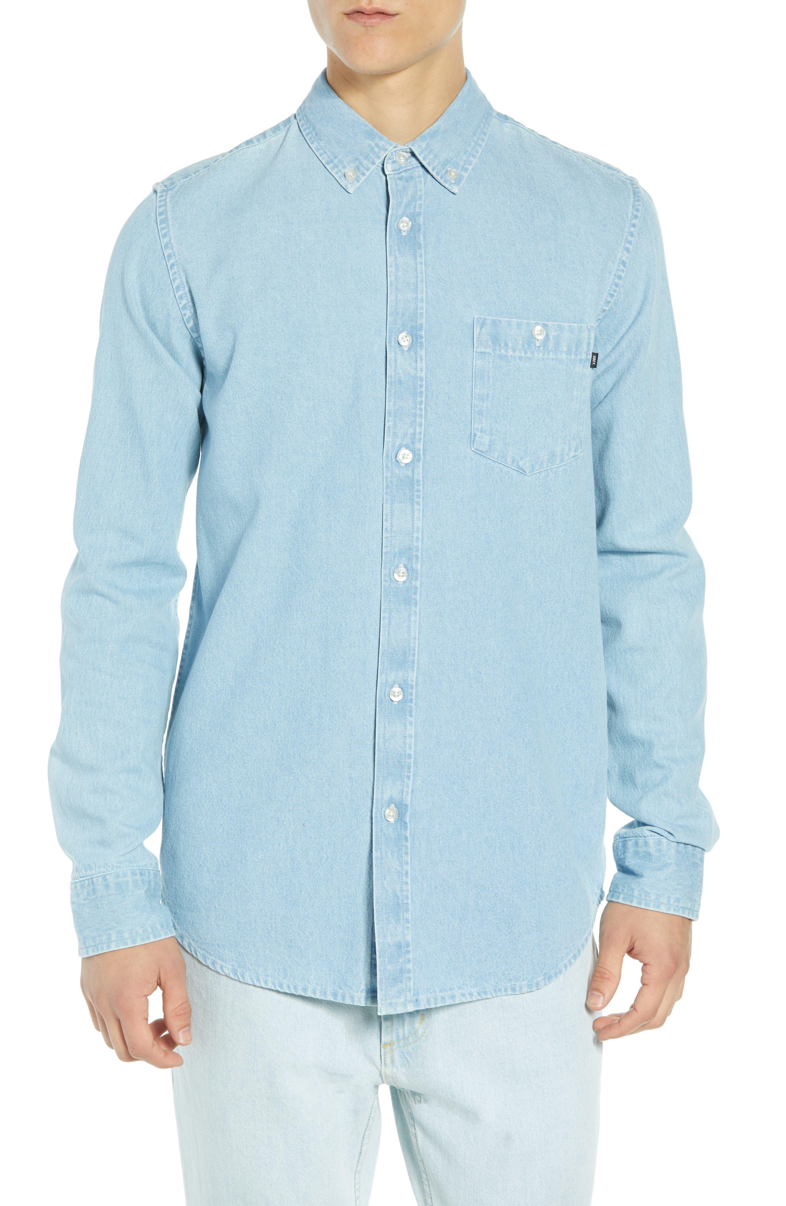 Keble Chambray Shirt,                         Main,                         color, BLUE