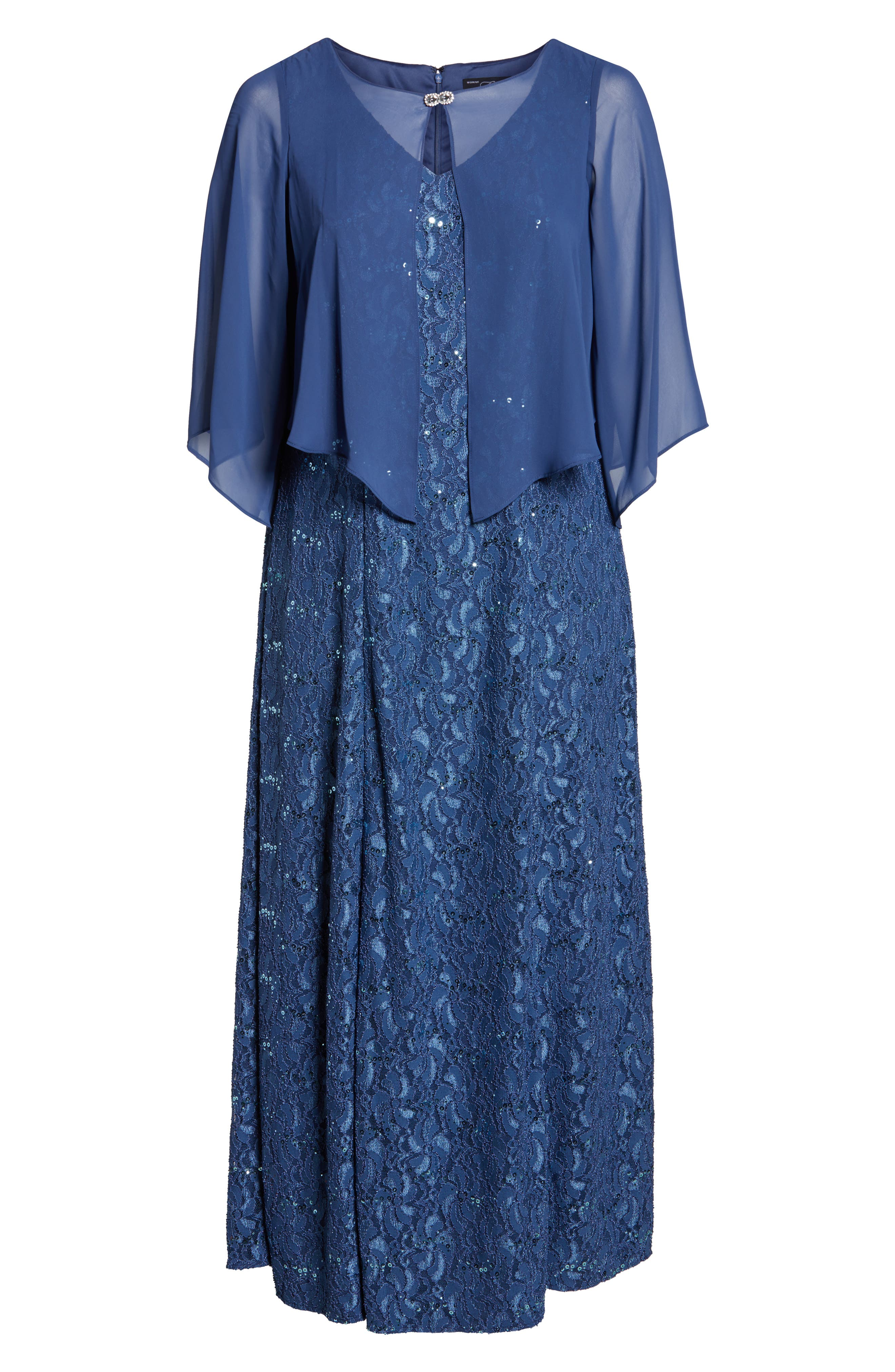 V-Neck Lace Gown with Capelet Overlay,                             Alternate thumbnail 6, color,                             422