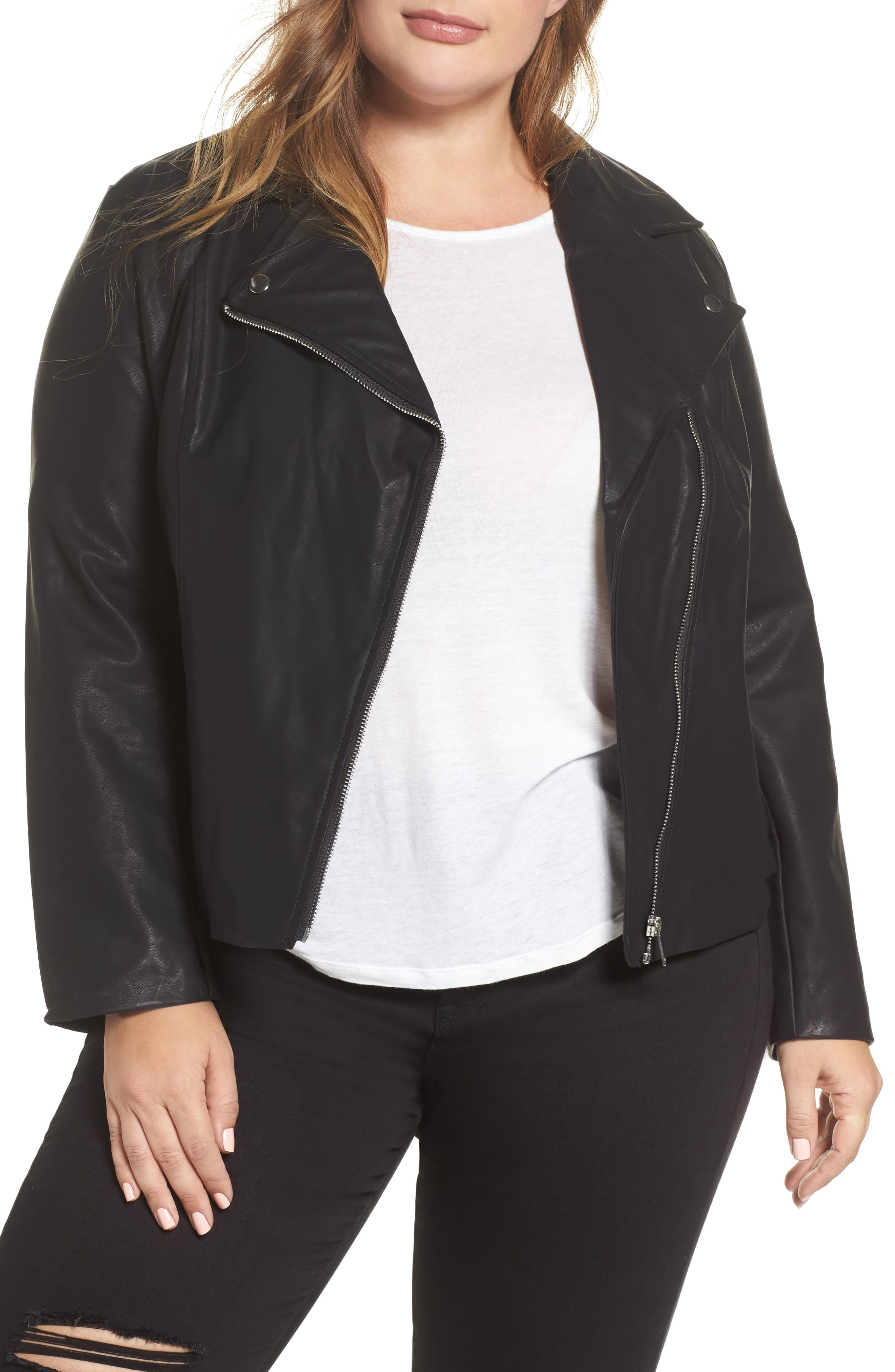 Faux Leather Moto Jacket,                         Main,                         color, 001