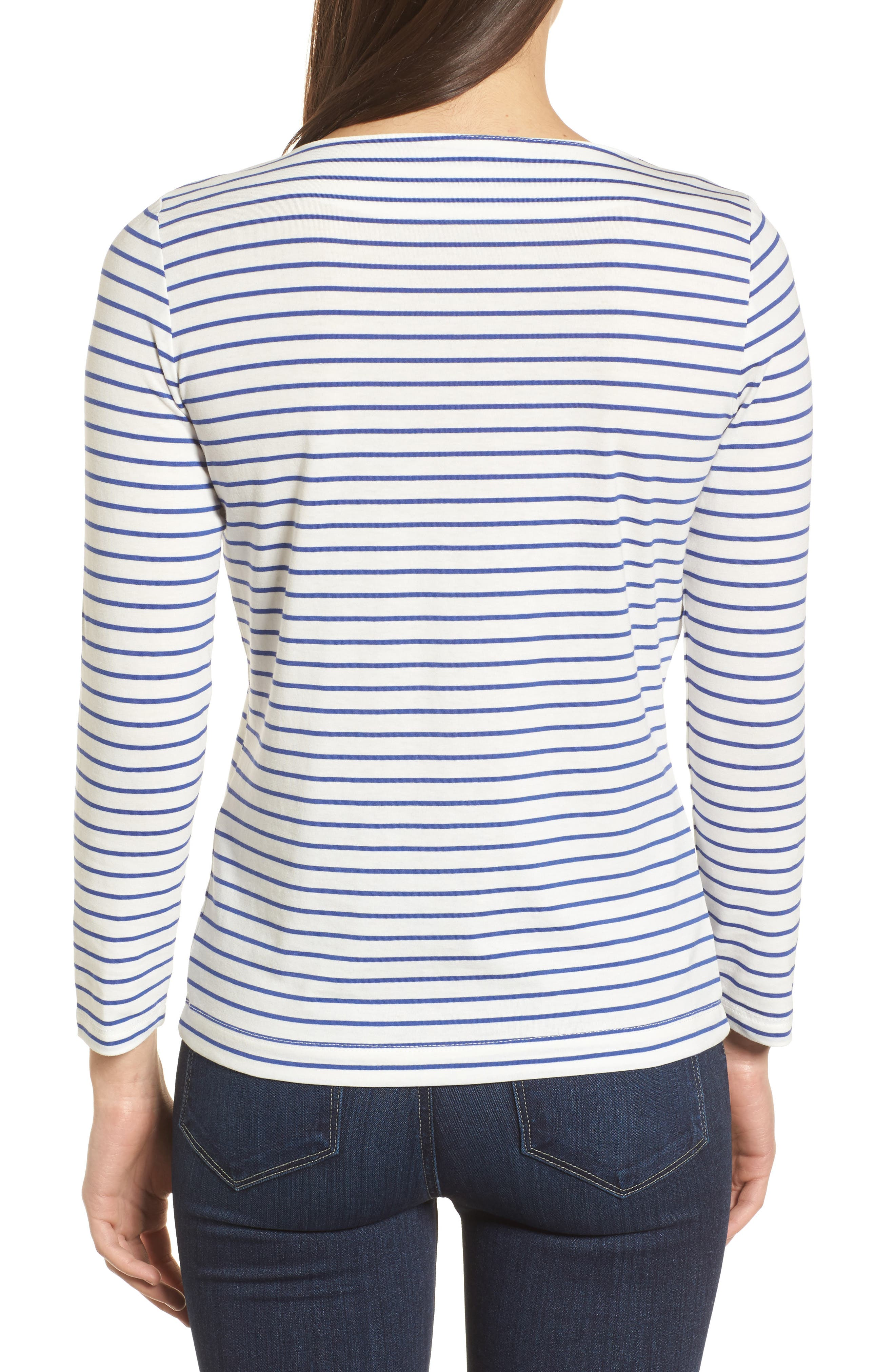Stripe Knit Boatneck Top,                             Alternate thumbnail 2, color,                             100