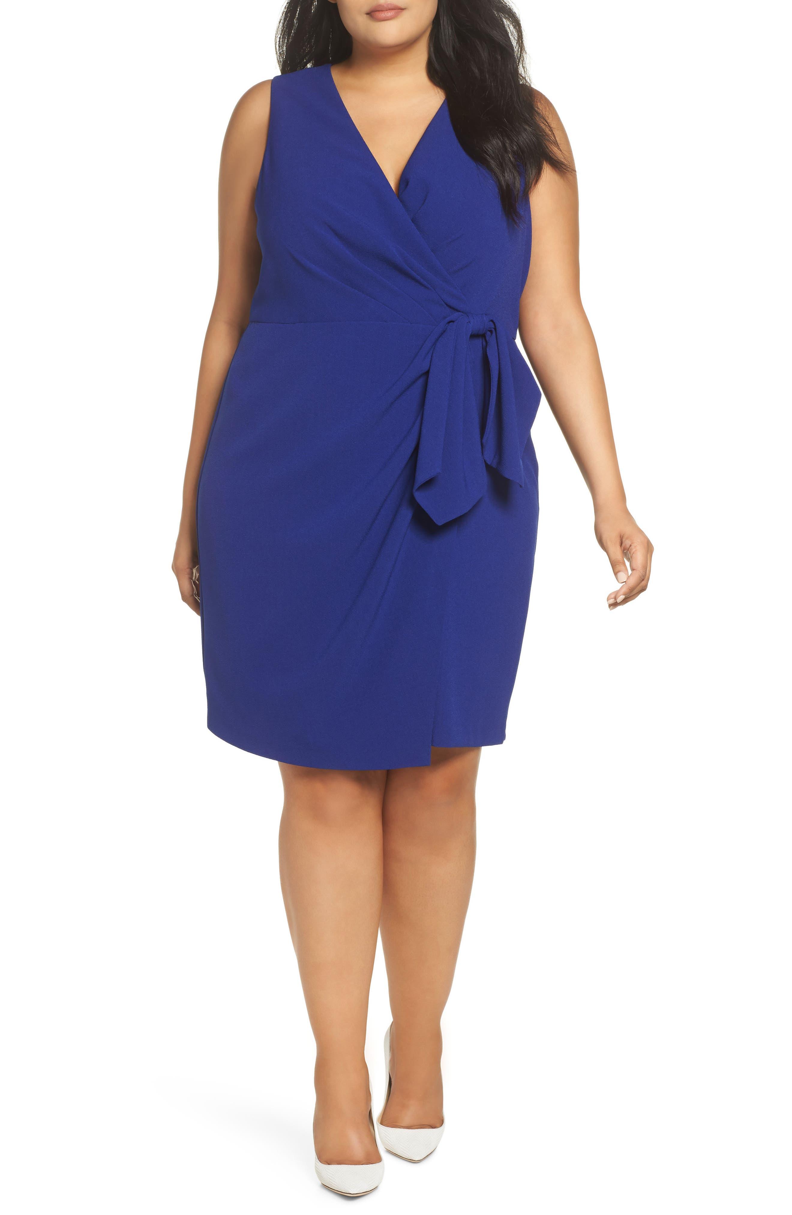 Faux Wrap Dress,                         Main,                         color, COBALT