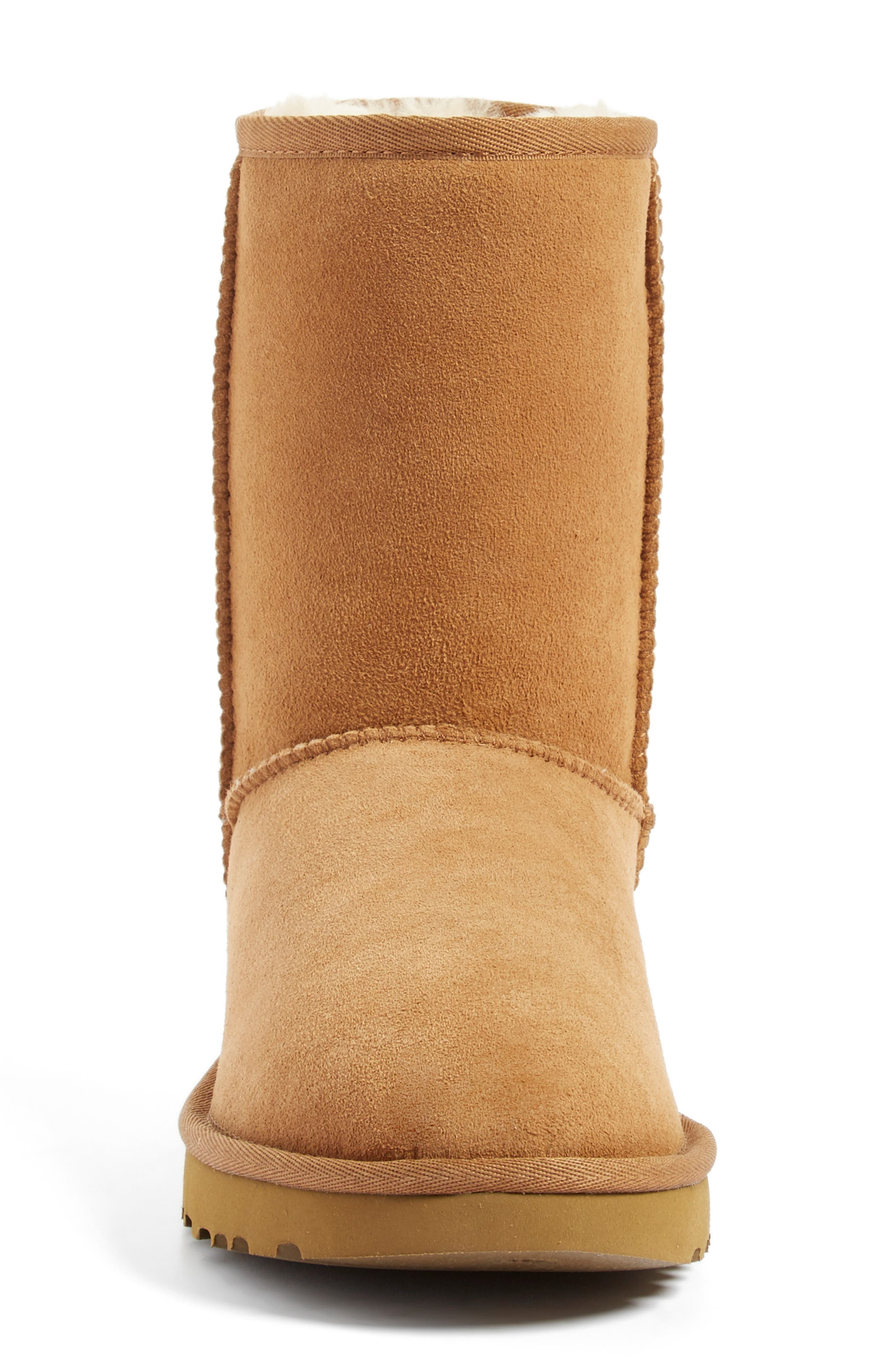 'Classic II' Genuine Shearling Lined Short Boot,                             Alternate thumbnail 3, color,                             CHESTNUT SUEDE