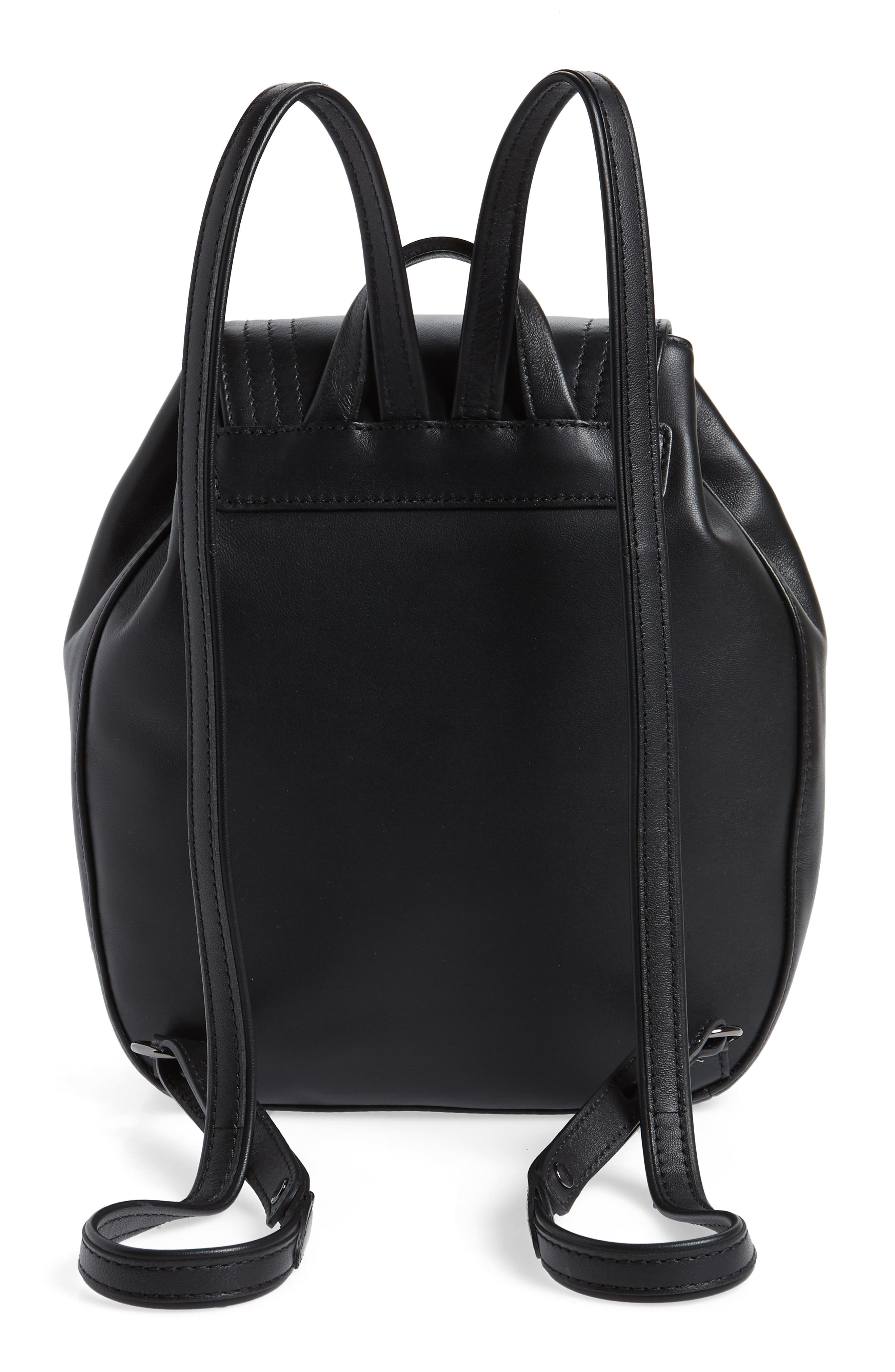 Cavalcade Leather Backpack,                             Alternate thumbnail 3, color,                             BLACK