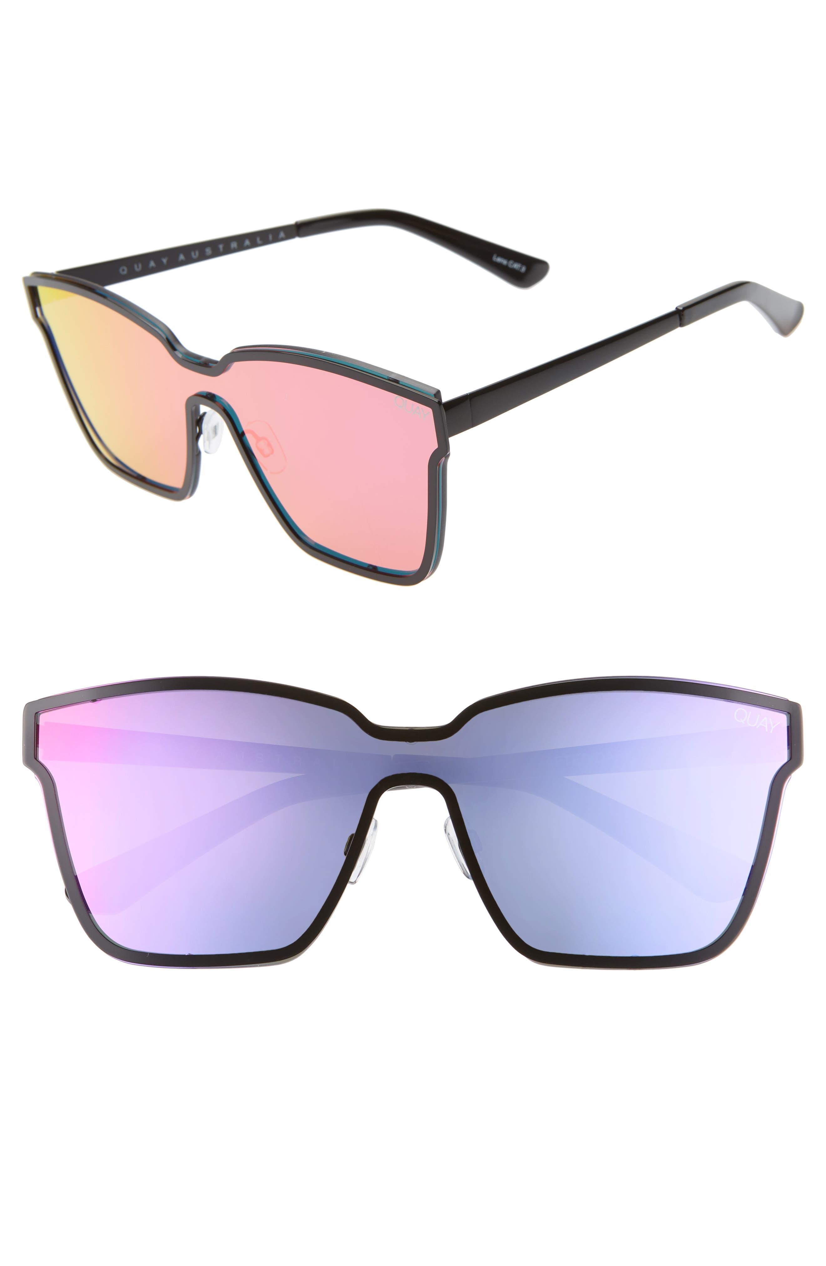 Quay Australia After Dark 14m Shield Sunglasses - Black/ Purple/ Pink