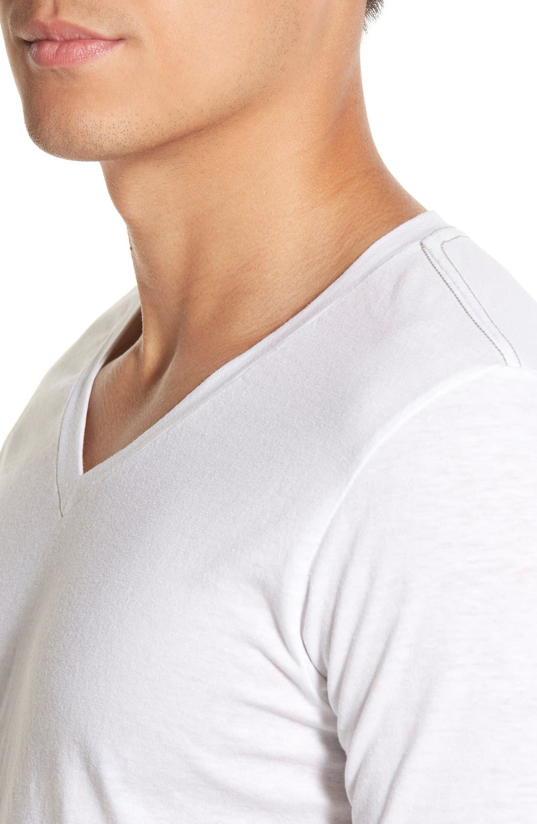 Scallop Triblend V-Neck T-Shirt,                             Alternate thumbnail 110, color,