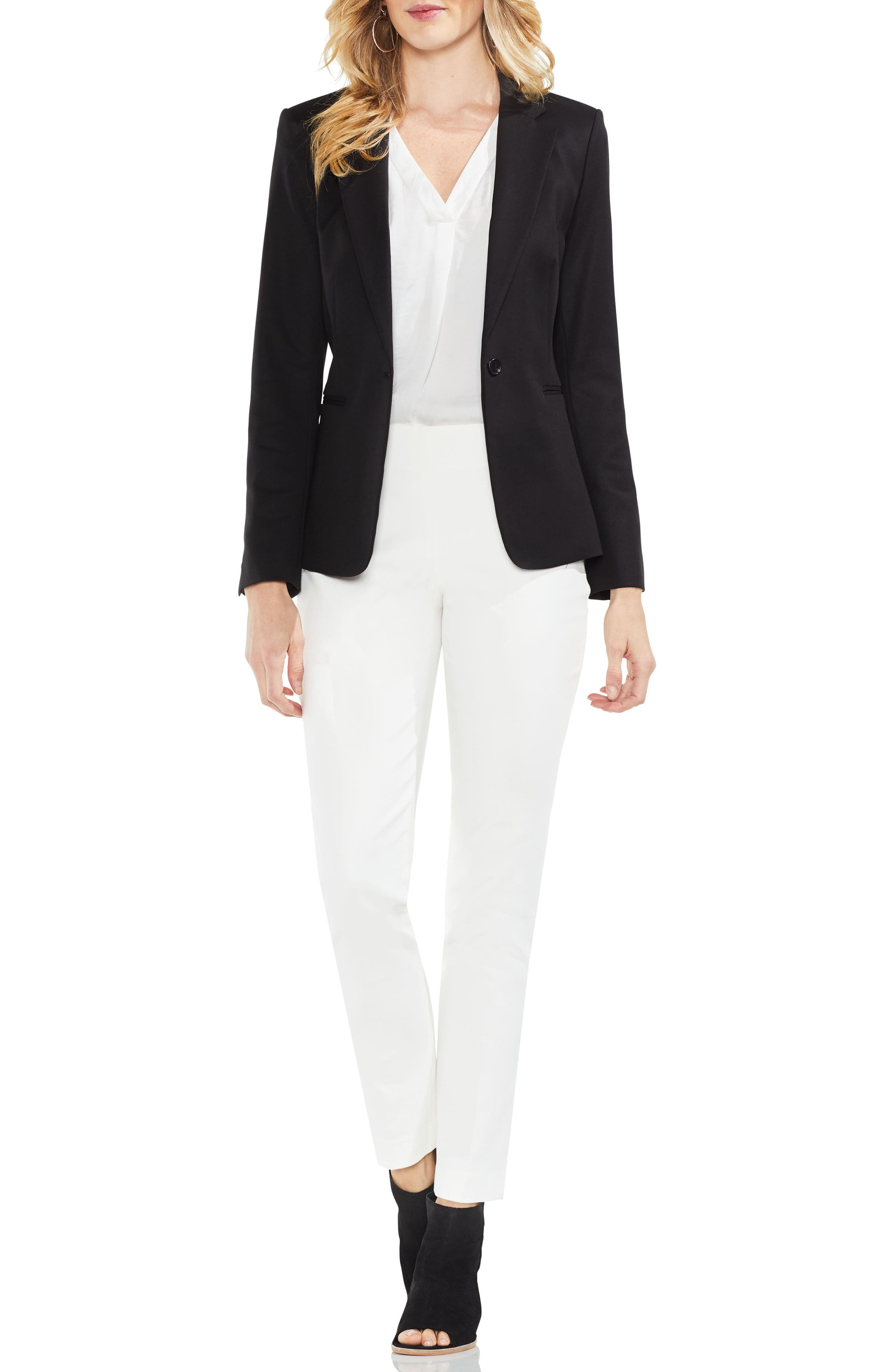 Lace-Up Back Double Weave Blazer,                             Alternate thumbnail 7, color,                             RICH BLACK