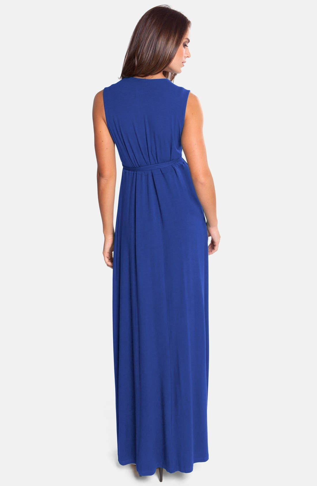 Lucy Maternity Maxi Dress,                             Alternate thumbnail 3, color,                             TRUE BLUE