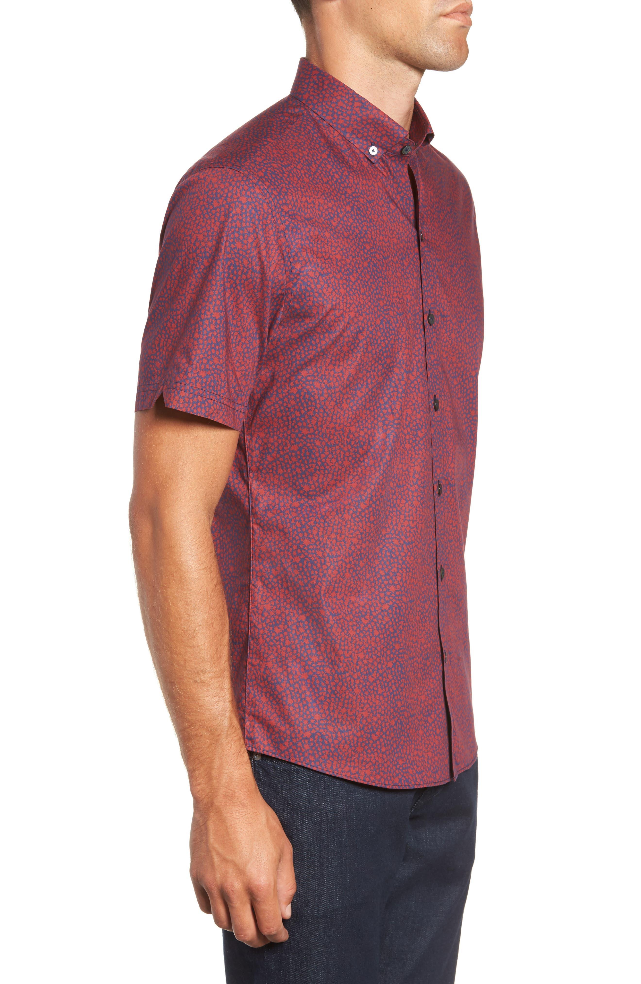 Lyons Regular Fit Print Sport Shirt,                             Alternate thumbnail 4, color,                             RED