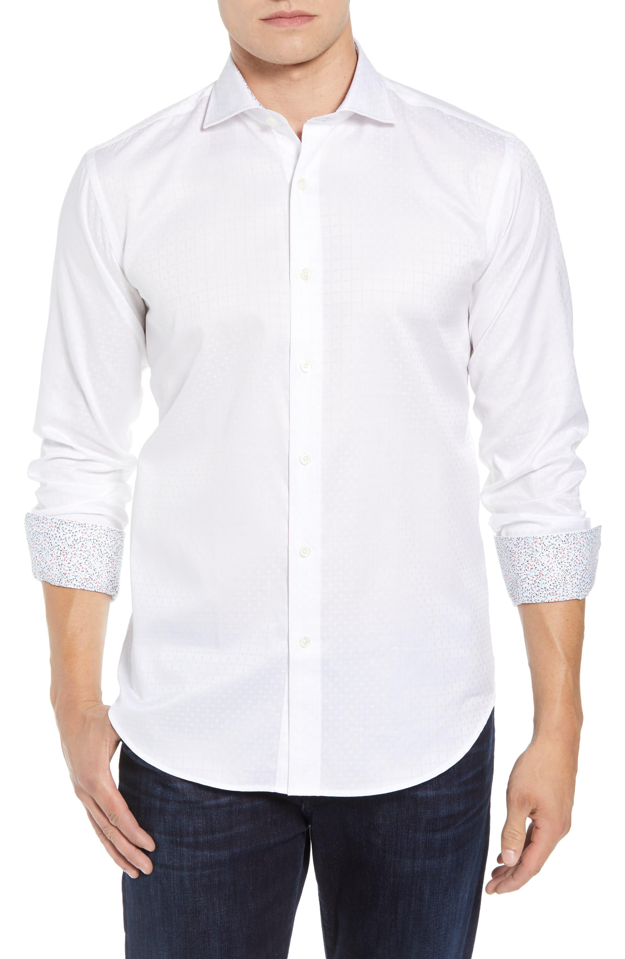 Shaped Fit Sport Shirt,                             Main thumbnail 1, color,                             WHITE