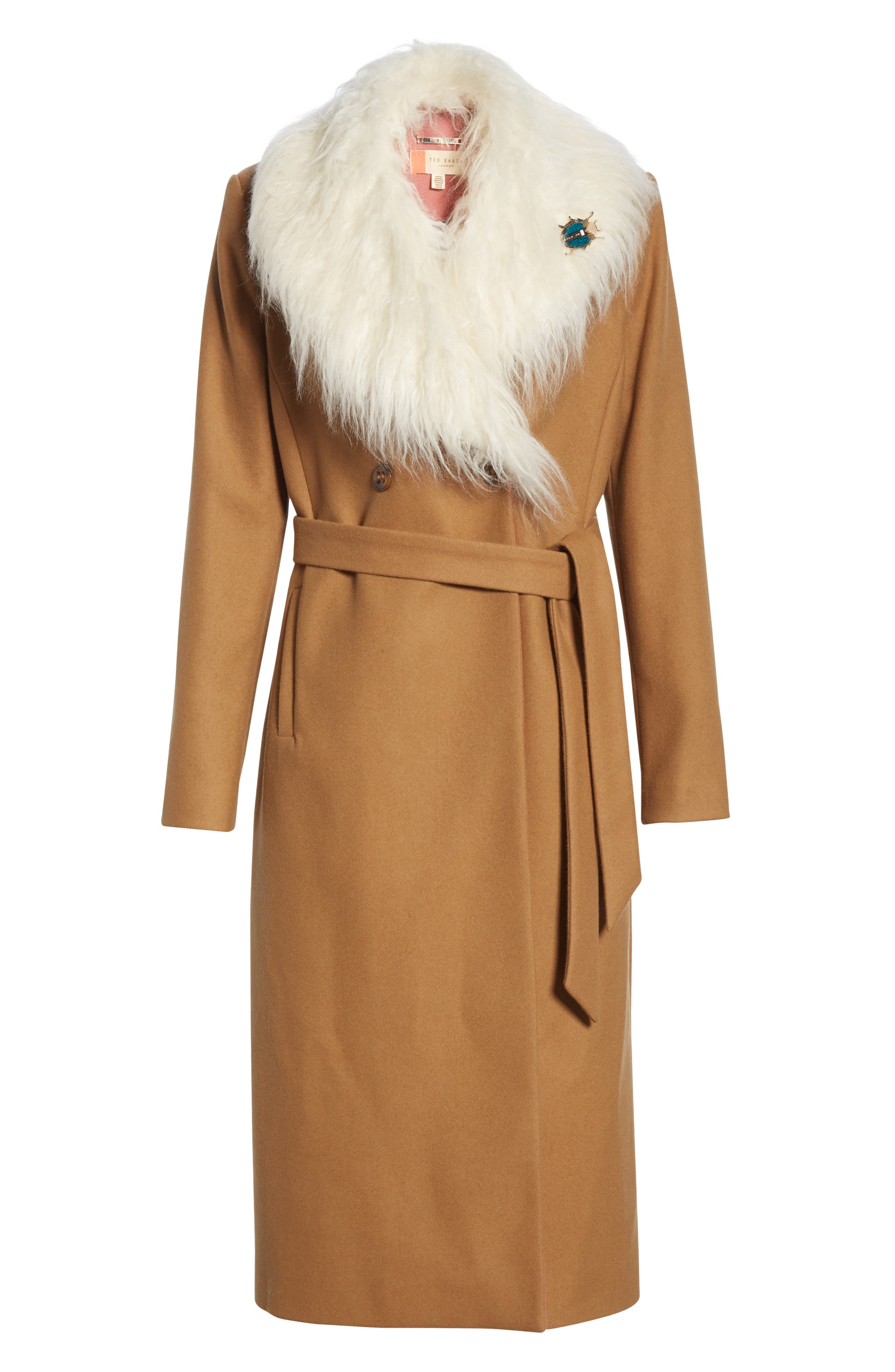 Colour by Numbers Alcaza Wool Coat with Removable Faux Fur Collar,                             Alternate thumbnail 5, color,                             257