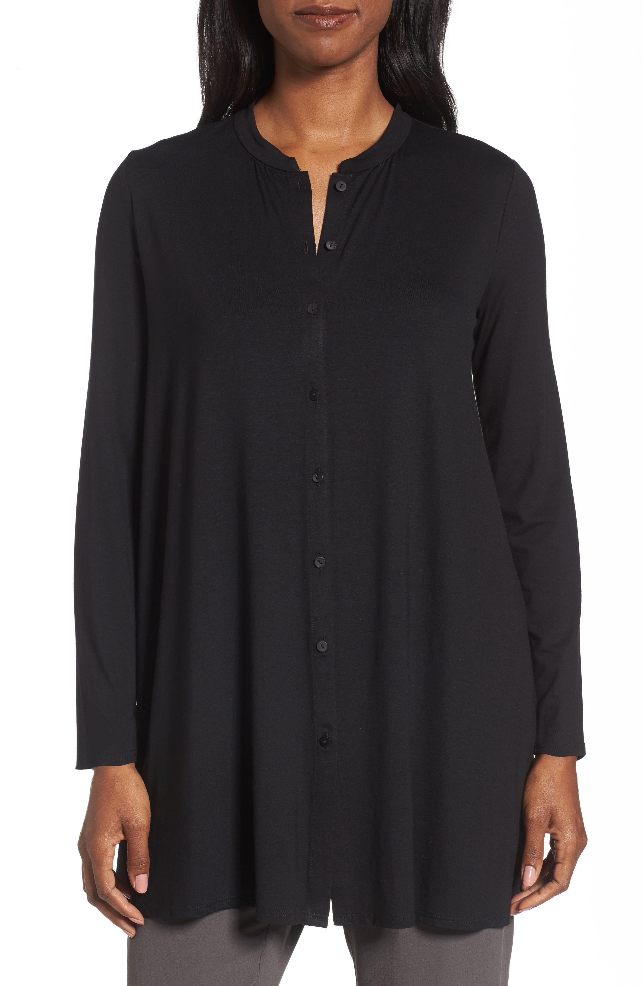 Button Front Jersey Tunic,                         Main,                         color, 001