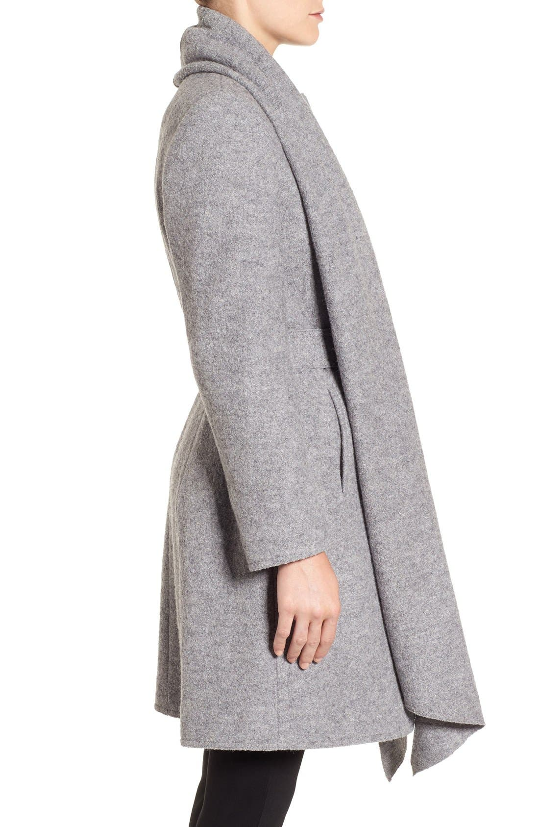 Belted Scarf Front Coat,                             Alternate thumbnail 4, color,