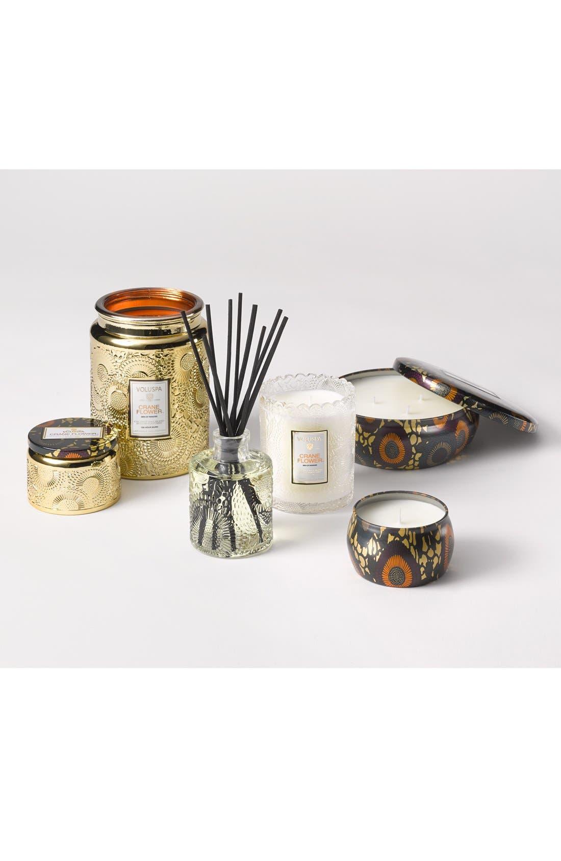 VOLUSPA,                             Japonica Crane Flower Large Embossed Glass Jar Candle,                             Alternate thumbnail 3, color,                             NO COLOR