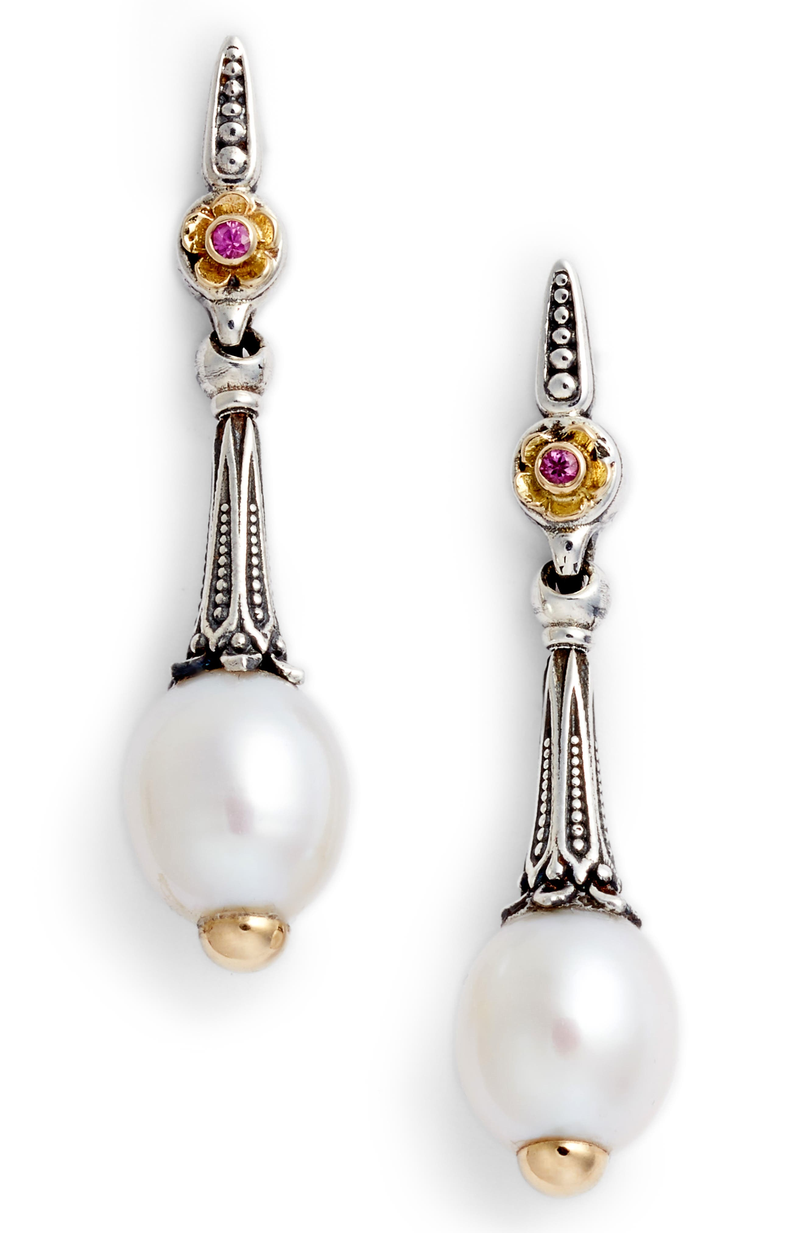 Pearl & Pink Sapphire Drop Earrings, Main, color, 040