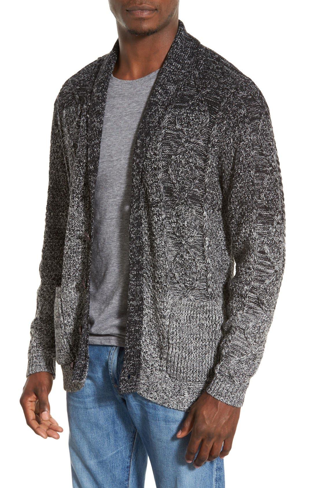 'Boston' Colorblock Mixed Knit Shawl Collar Cardigan,                         Main,                         color, 061