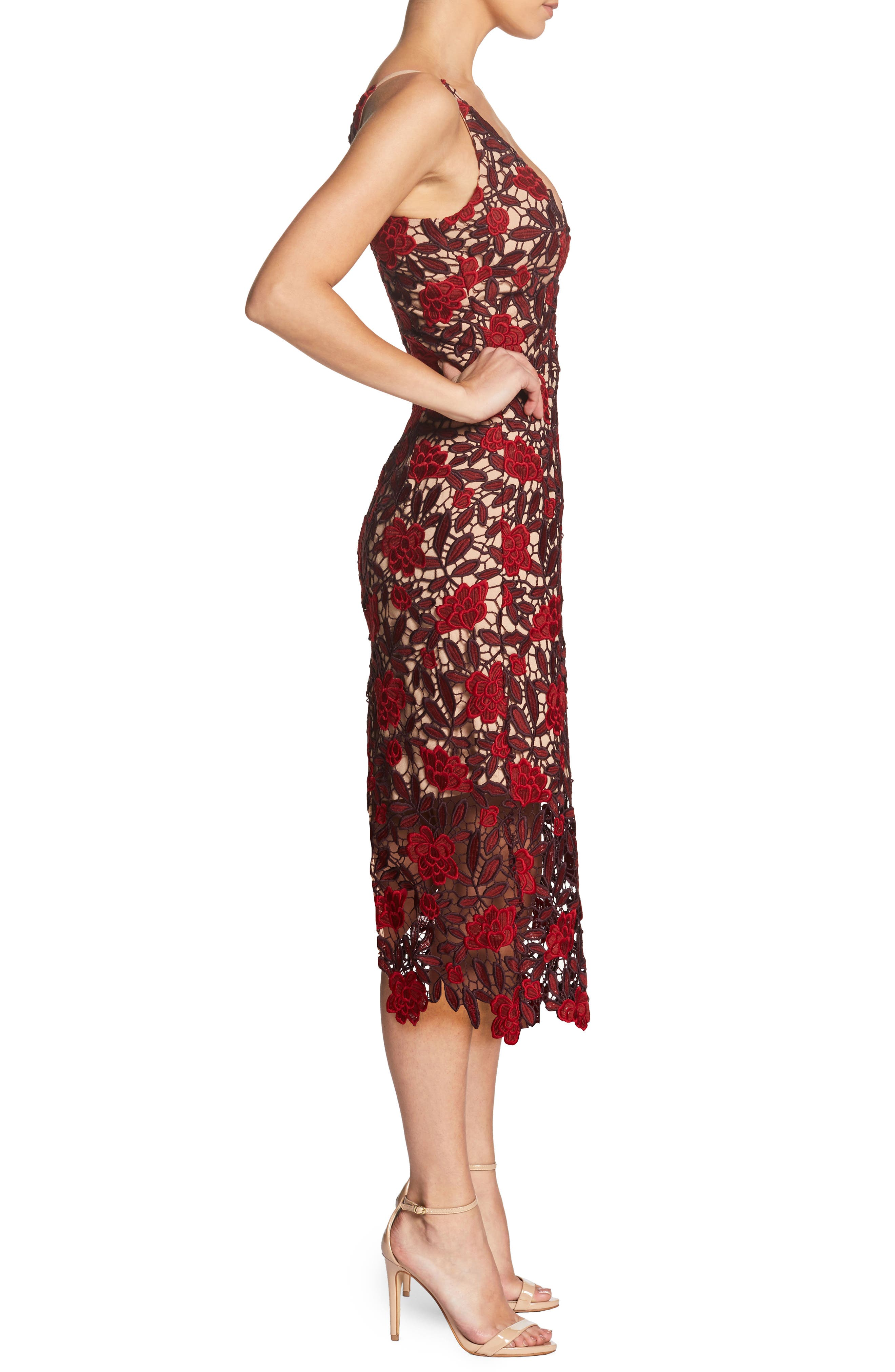 Aurora Embroidered Sheath Dress,                             Alternate thumbnail 3, color,                             GARNET/ NUDE