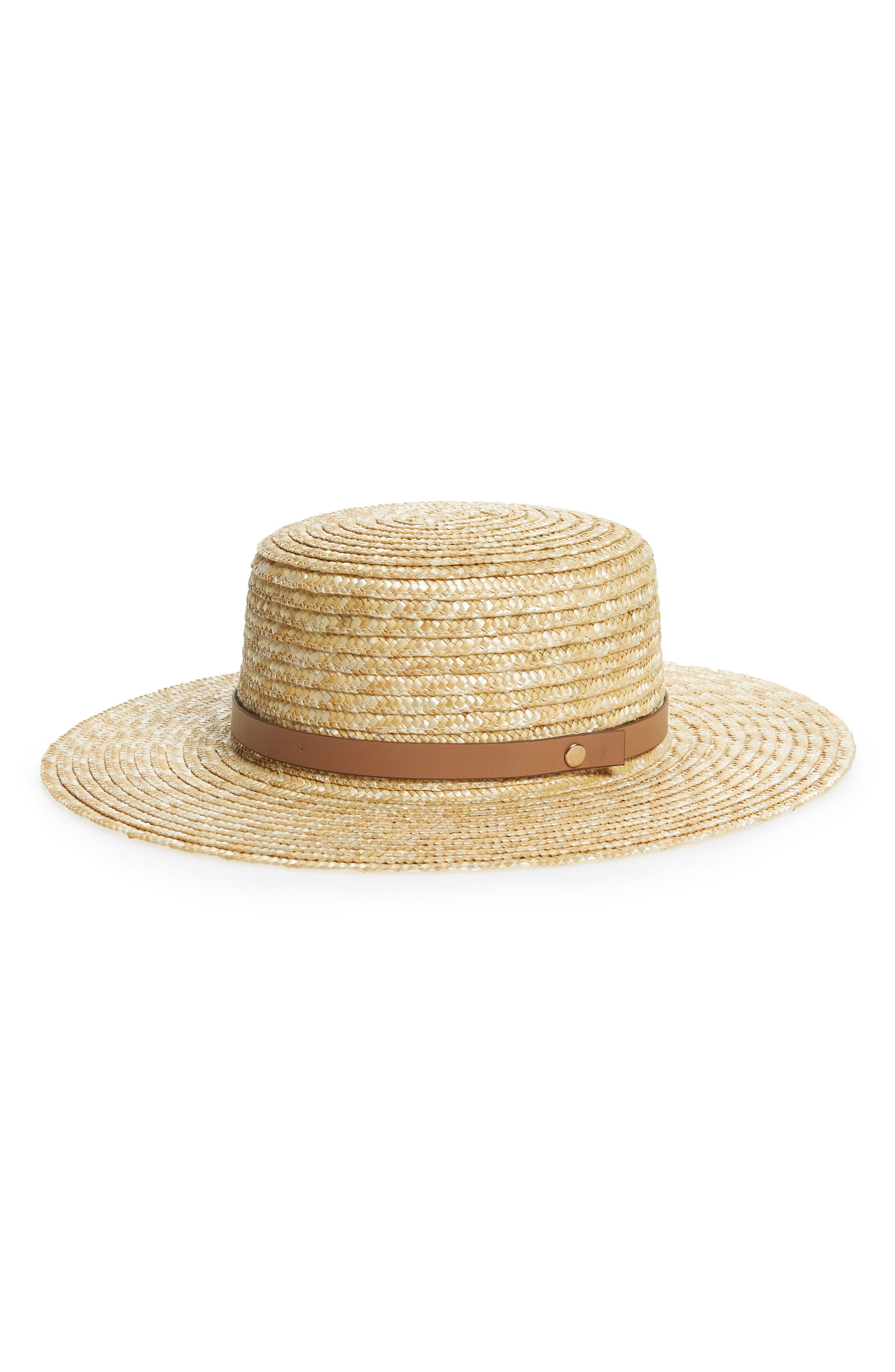 Wide Brim Straw Boater Hat,                             Main thumbnail 2, color,