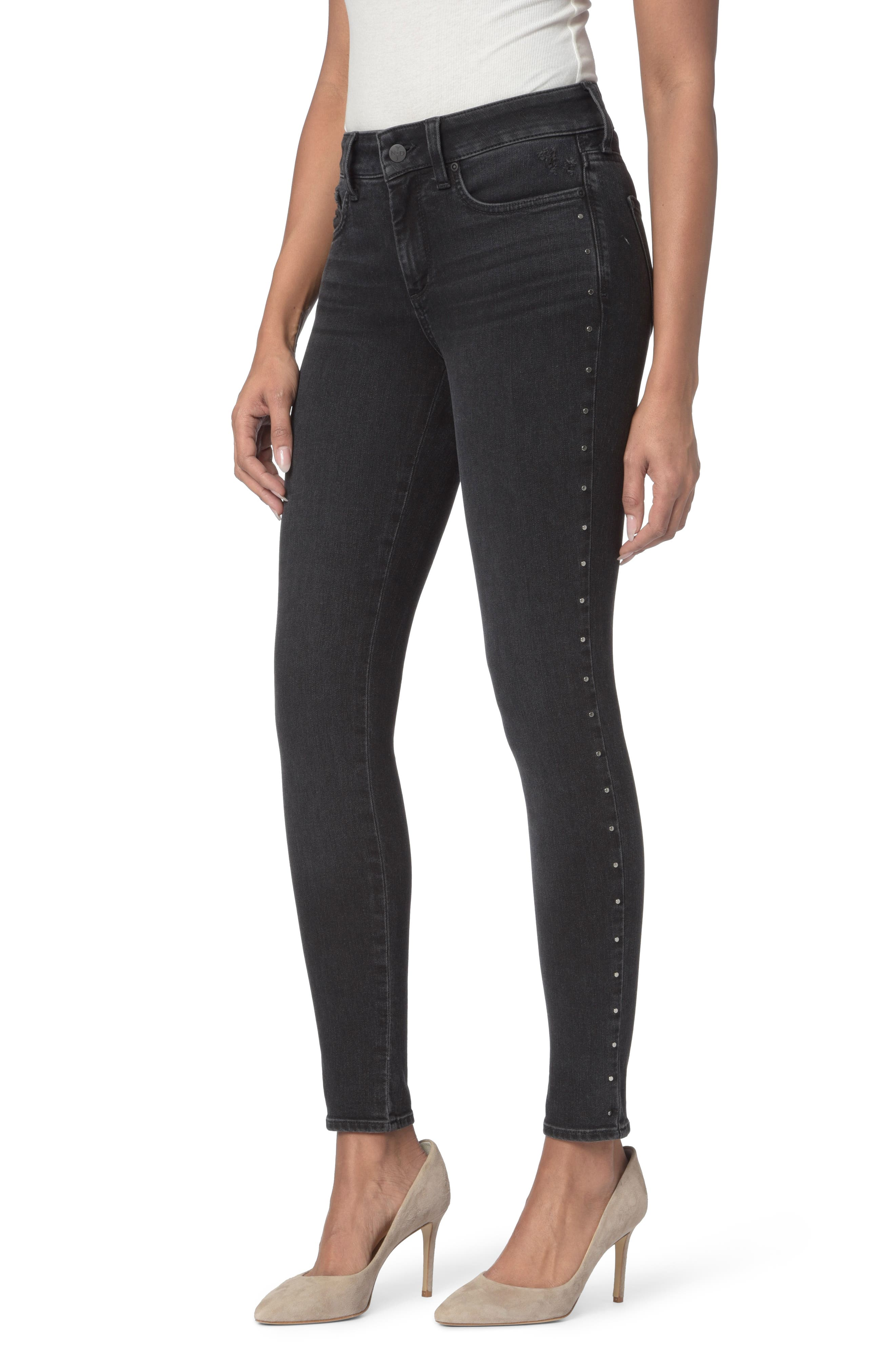 Ami Embellished Stretch Skinny Jeans,                             Main thumbnail 1, color,                             001