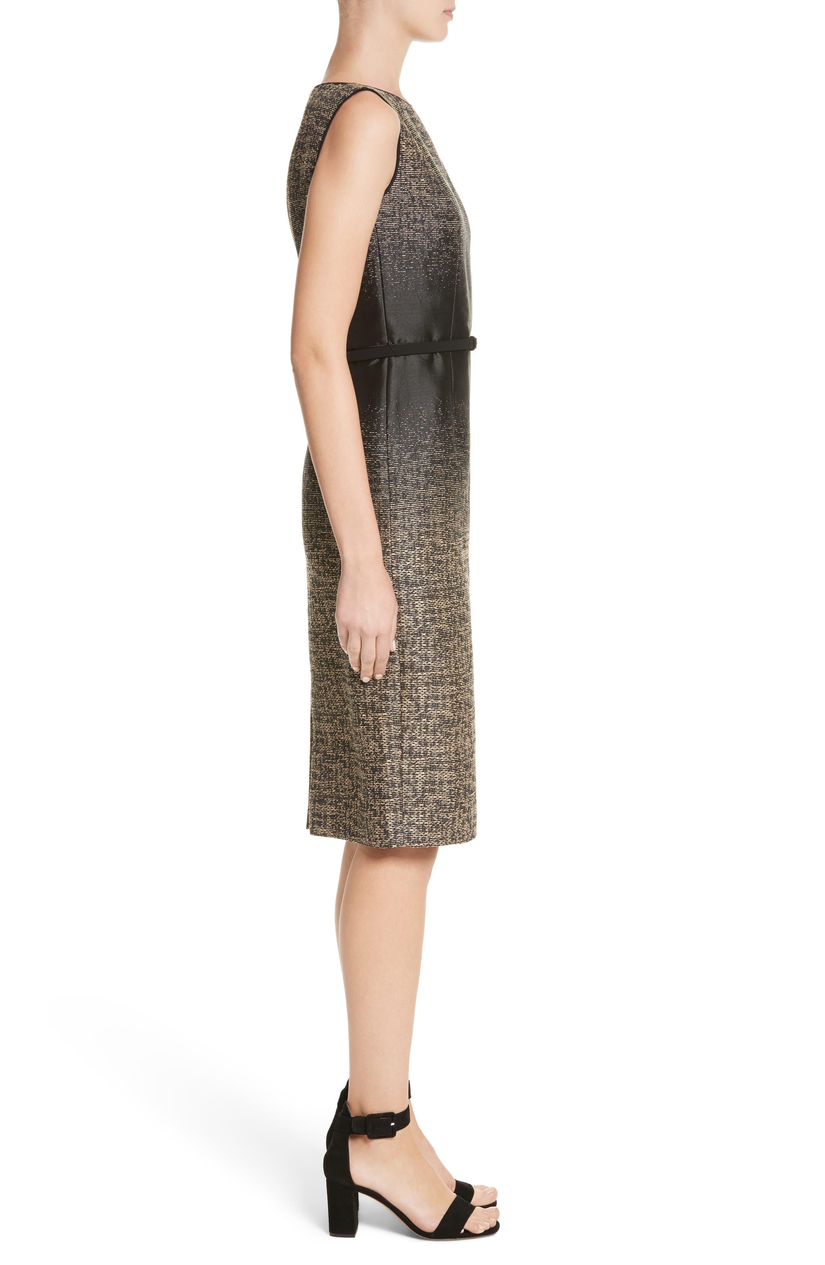 Paulette Jacquard Sheath Dress,                             Alternate thumbnail 3, color,                             001