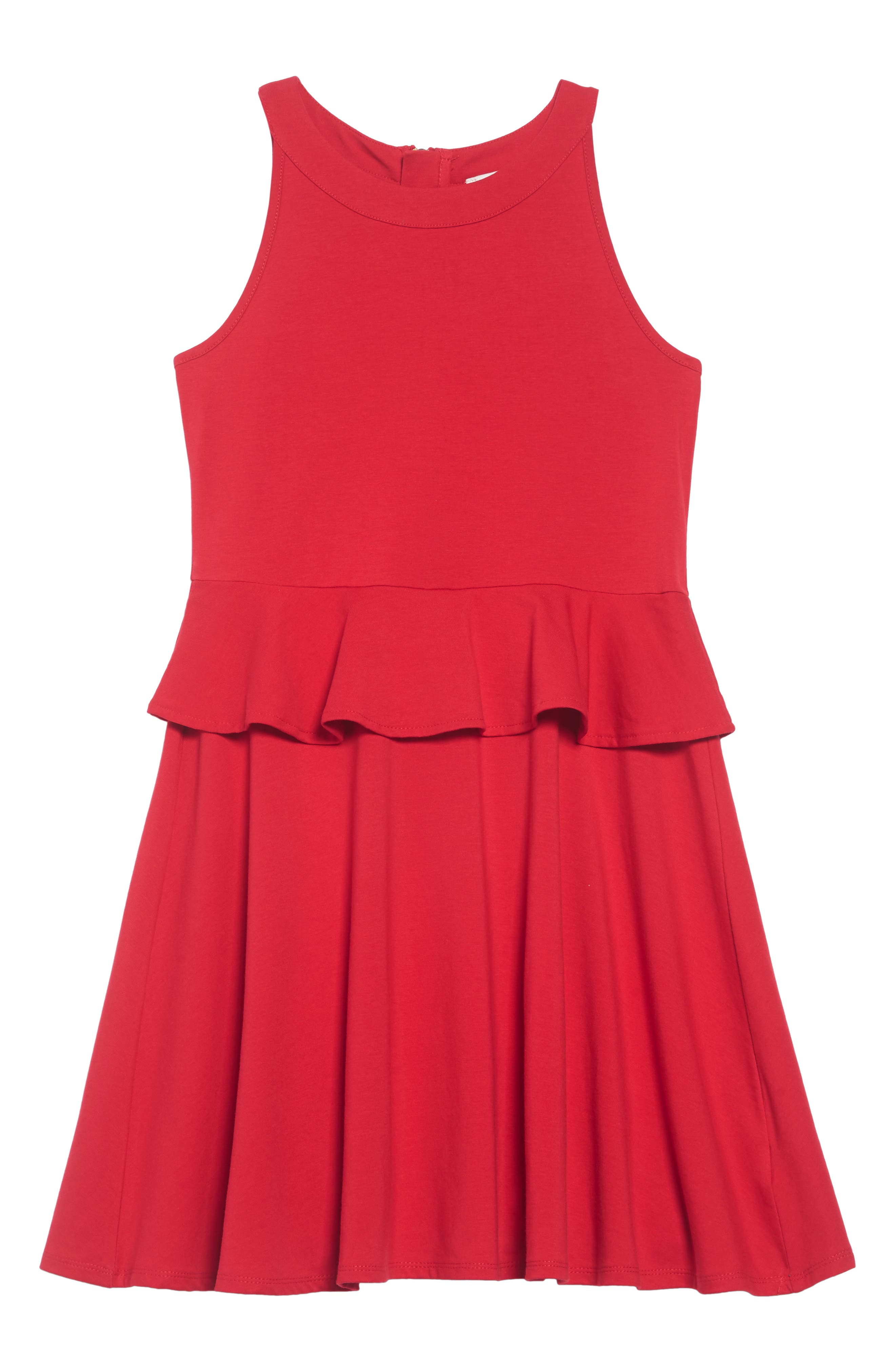 peplum dress,                             Main thumbnail 1, color,                             CHARM RED