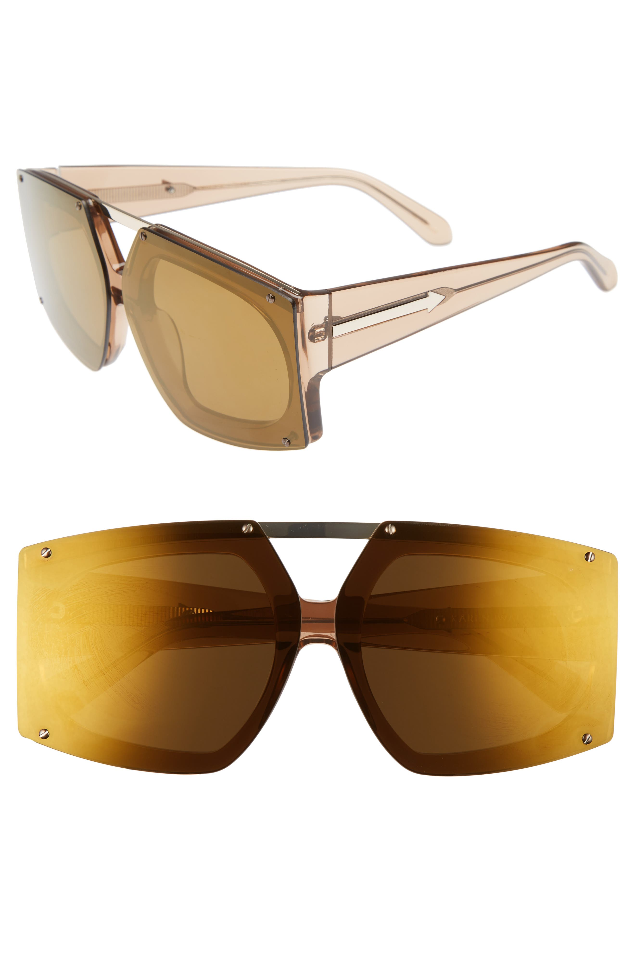 70mm Mirrored Oversized Sunglasses,                             Main thumbnail 2, color,