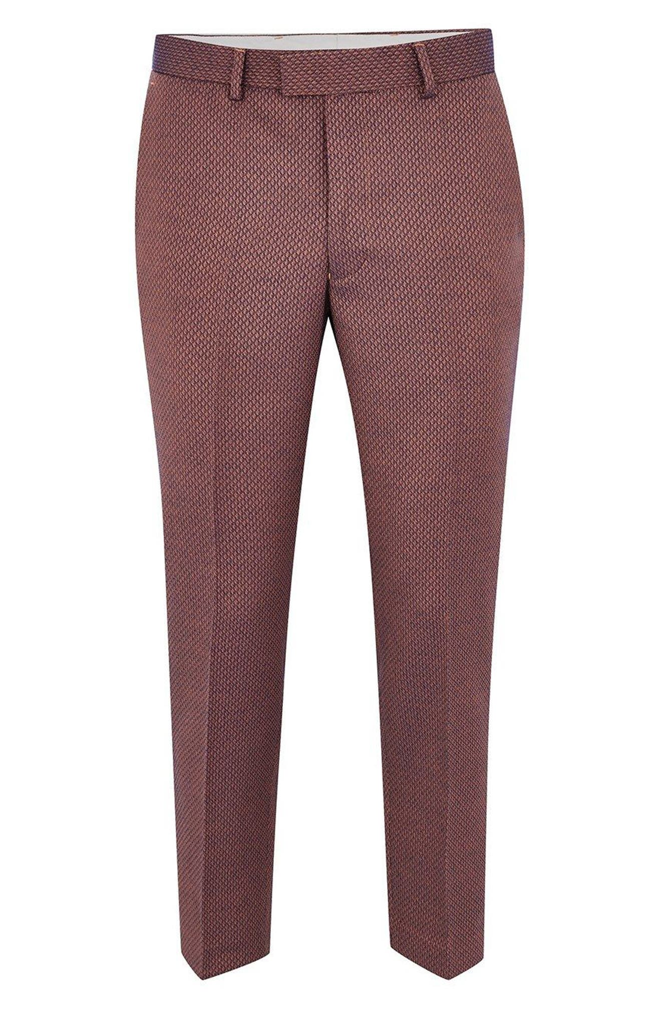 Skinny Fit Jacquard Trousers,                             Alternate thumbnail 3, color,                             RED