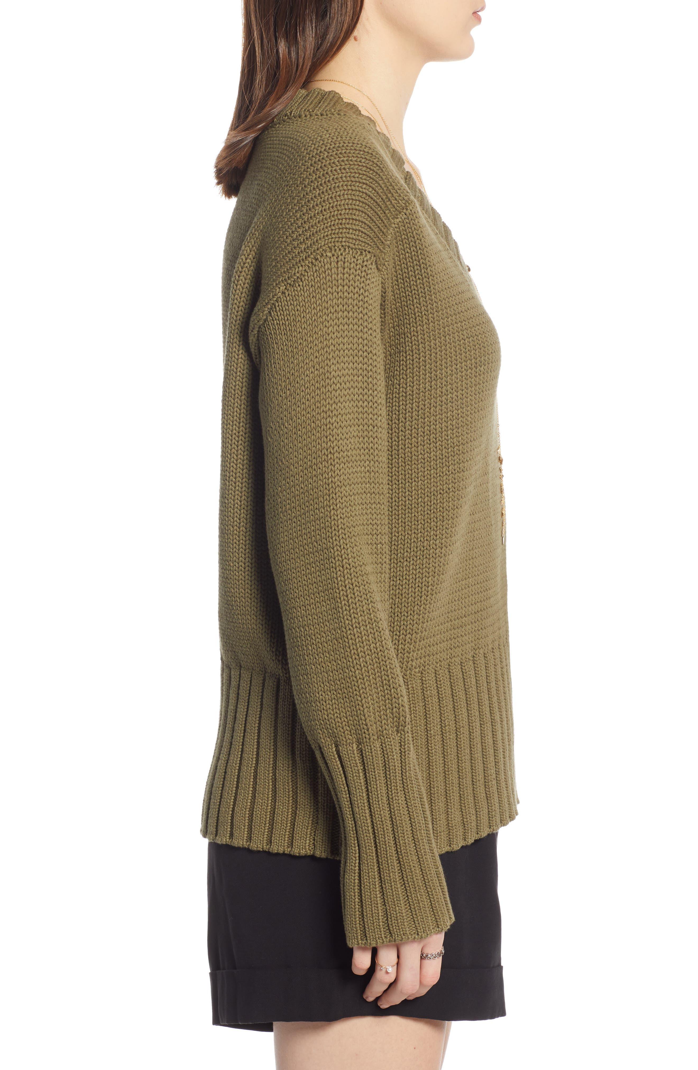 V-Neck Sweater,                             Alternate thumbnail 3, color,                             OLIVE BURNT
