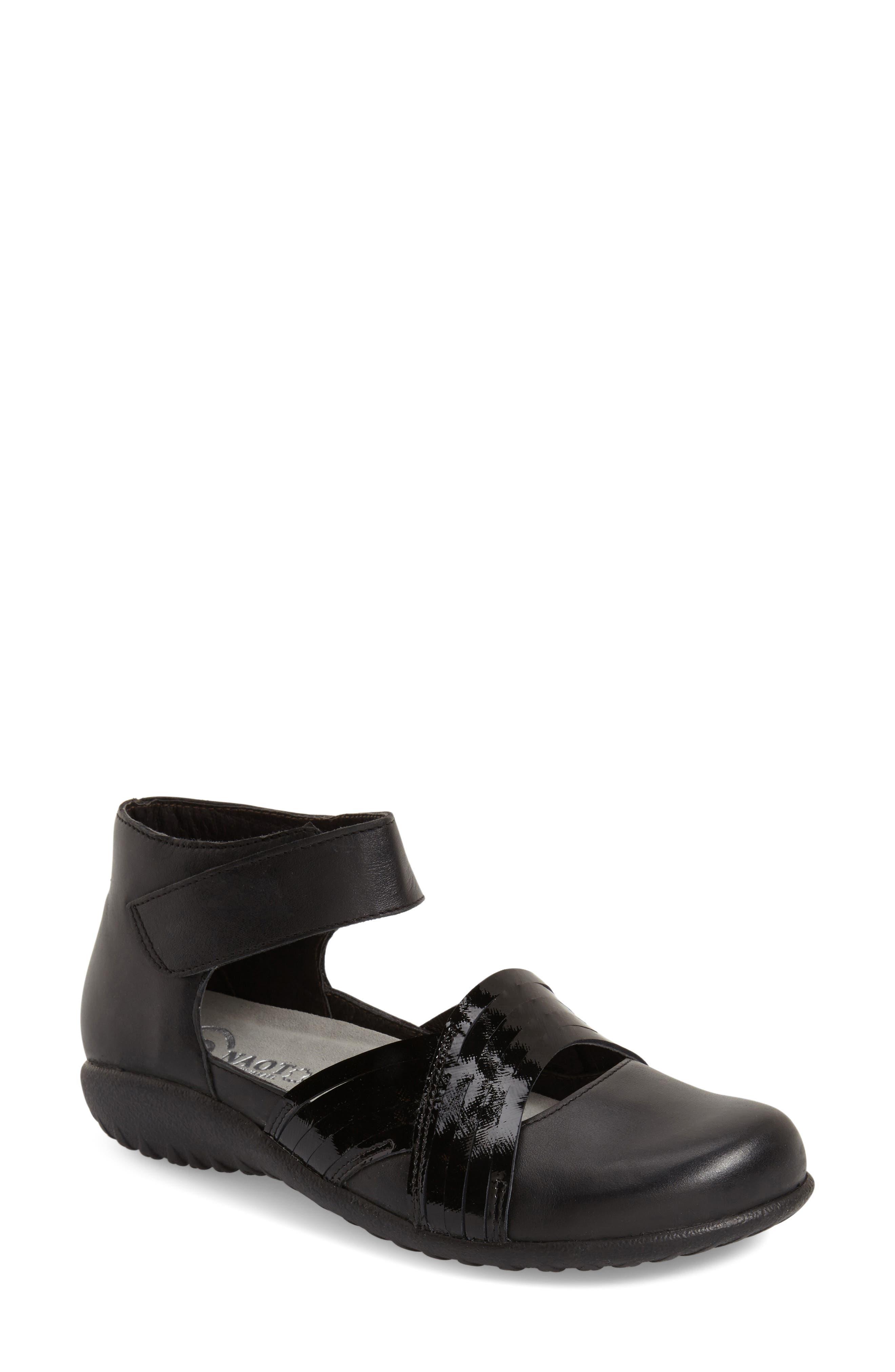 'Tenei' Ankle Strap Flat,                             Alternate thumbnail 3, color,                             BLACK RAVEN LEATHER