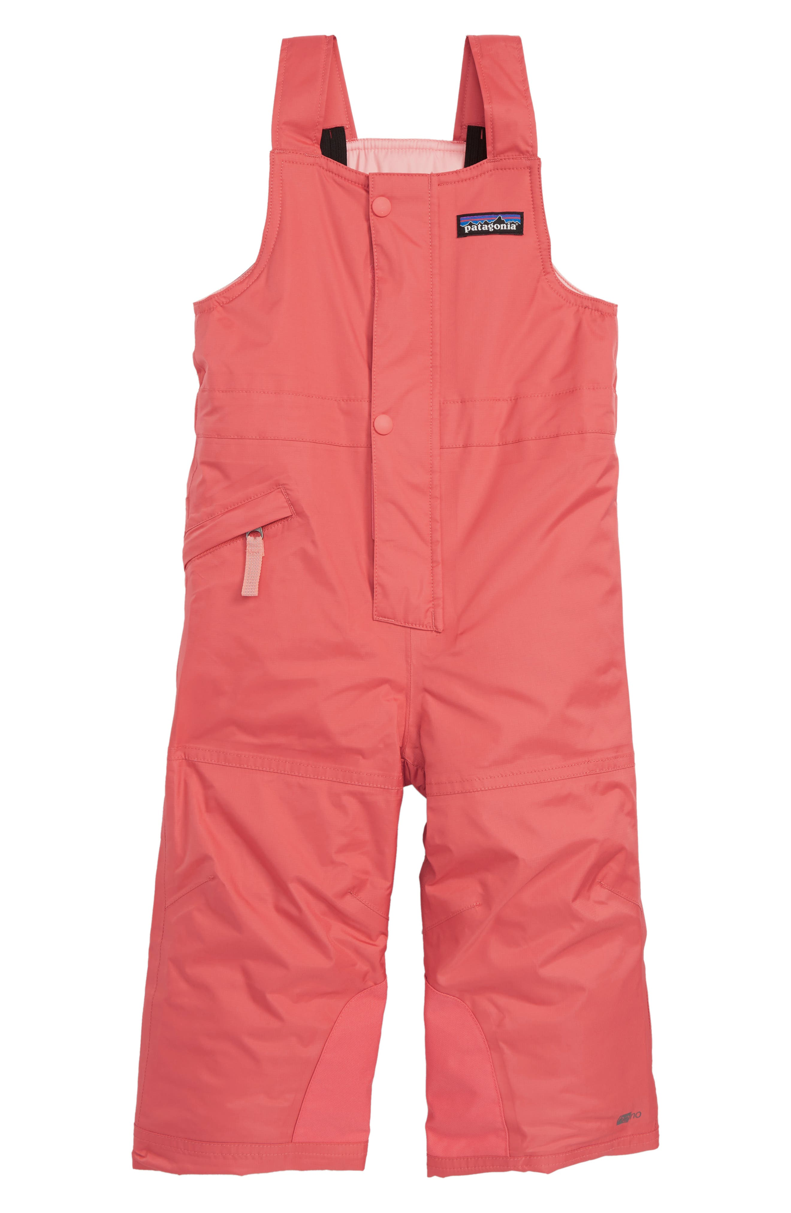 Snow Pile Waterproof Insulated Bib Overalls,                         Main,                         color, SPCL SPICED CORAL