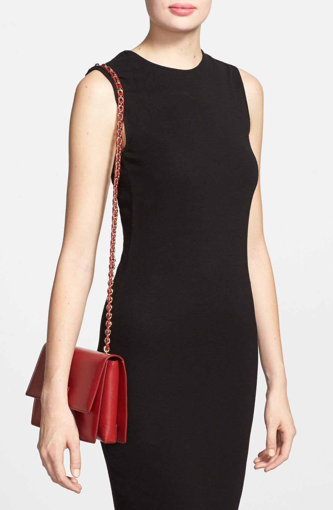 Saffiano Leather Shoulder Bag,                             Alternate thumbnail 8, color,