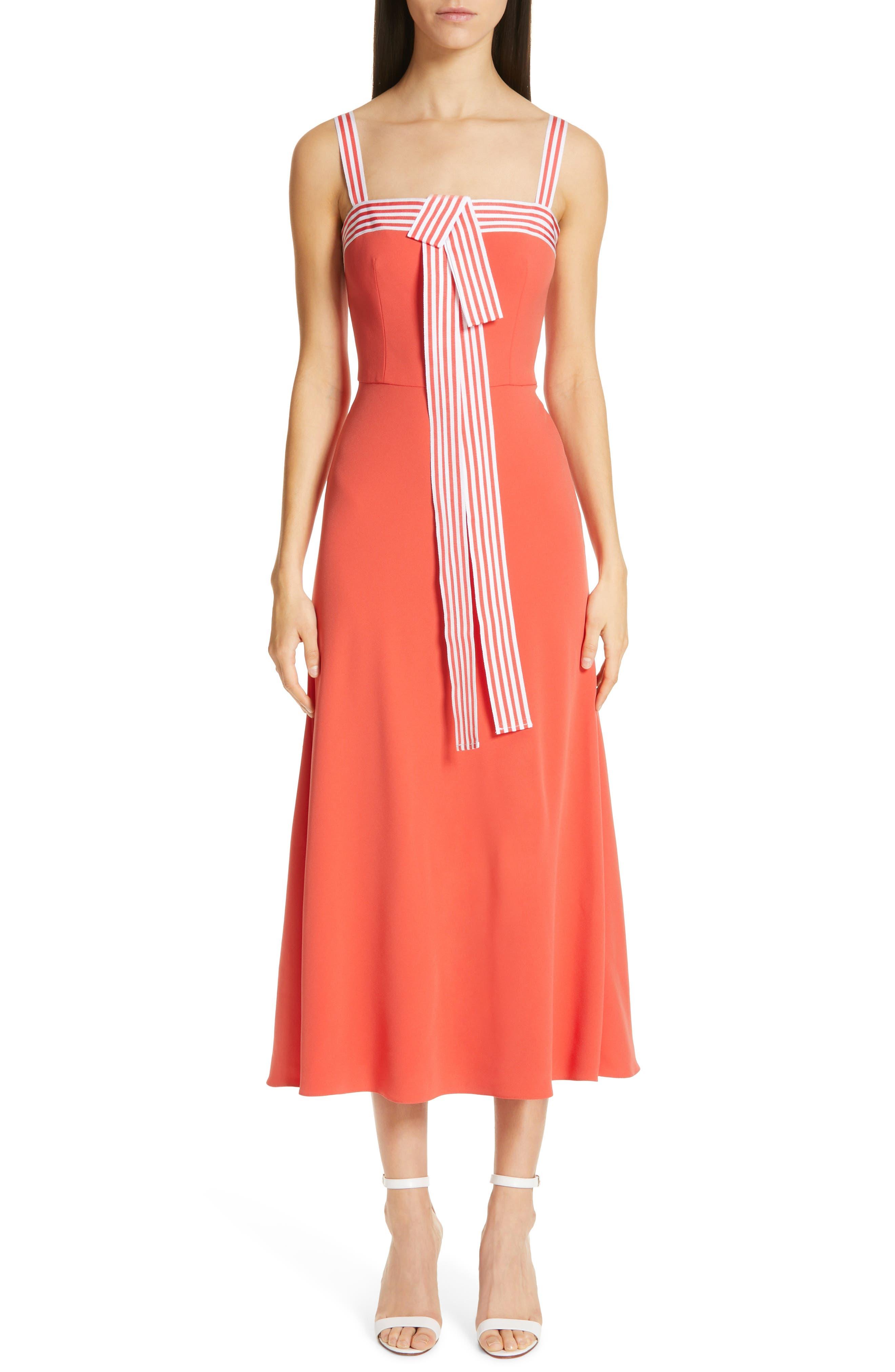 Lela Rose Tie Front Dress, Coral