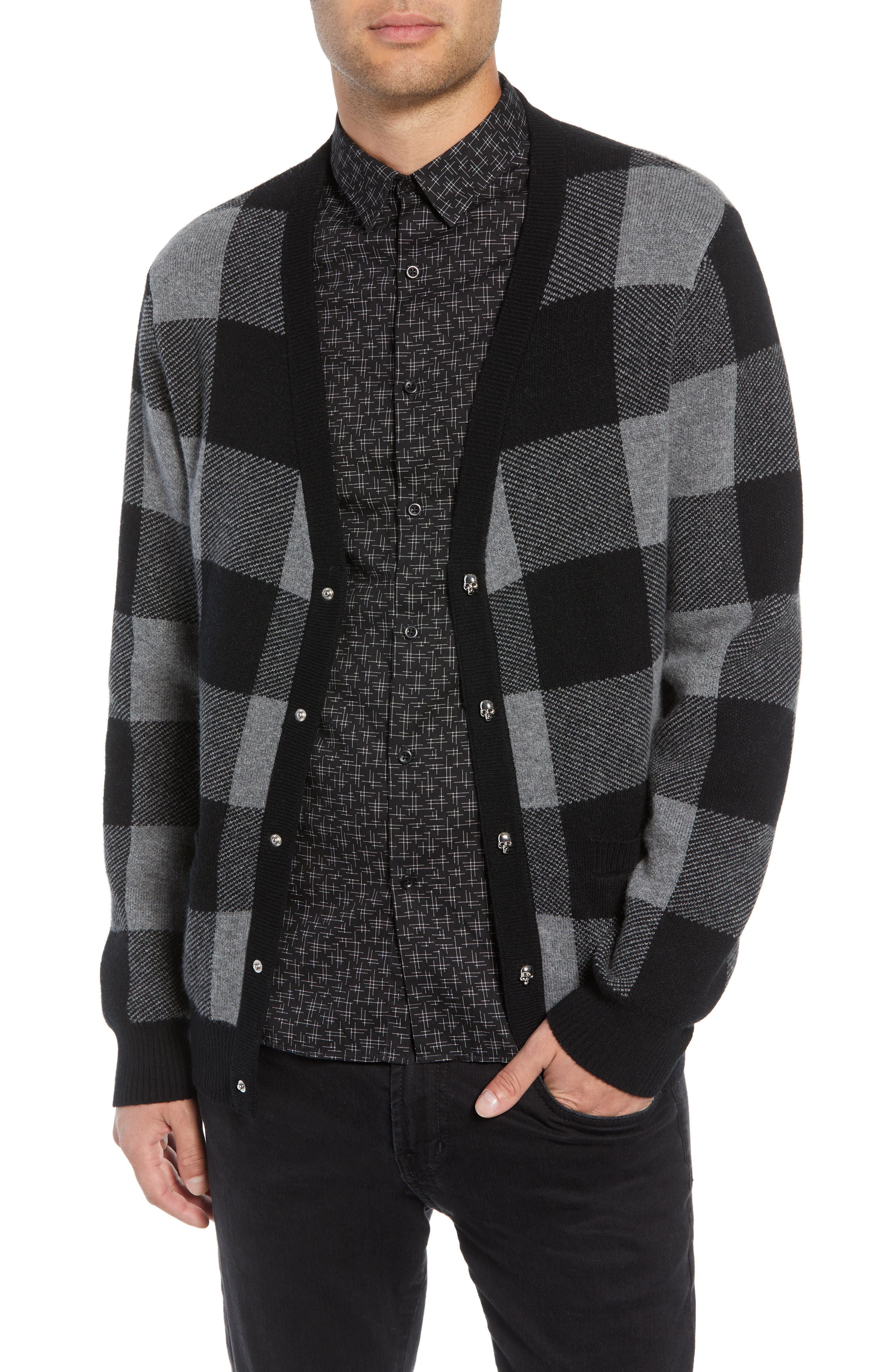 Regular Fit Check Wool Cardigan,                             Main thumbnail 1, color,                             BLACK/ GREY