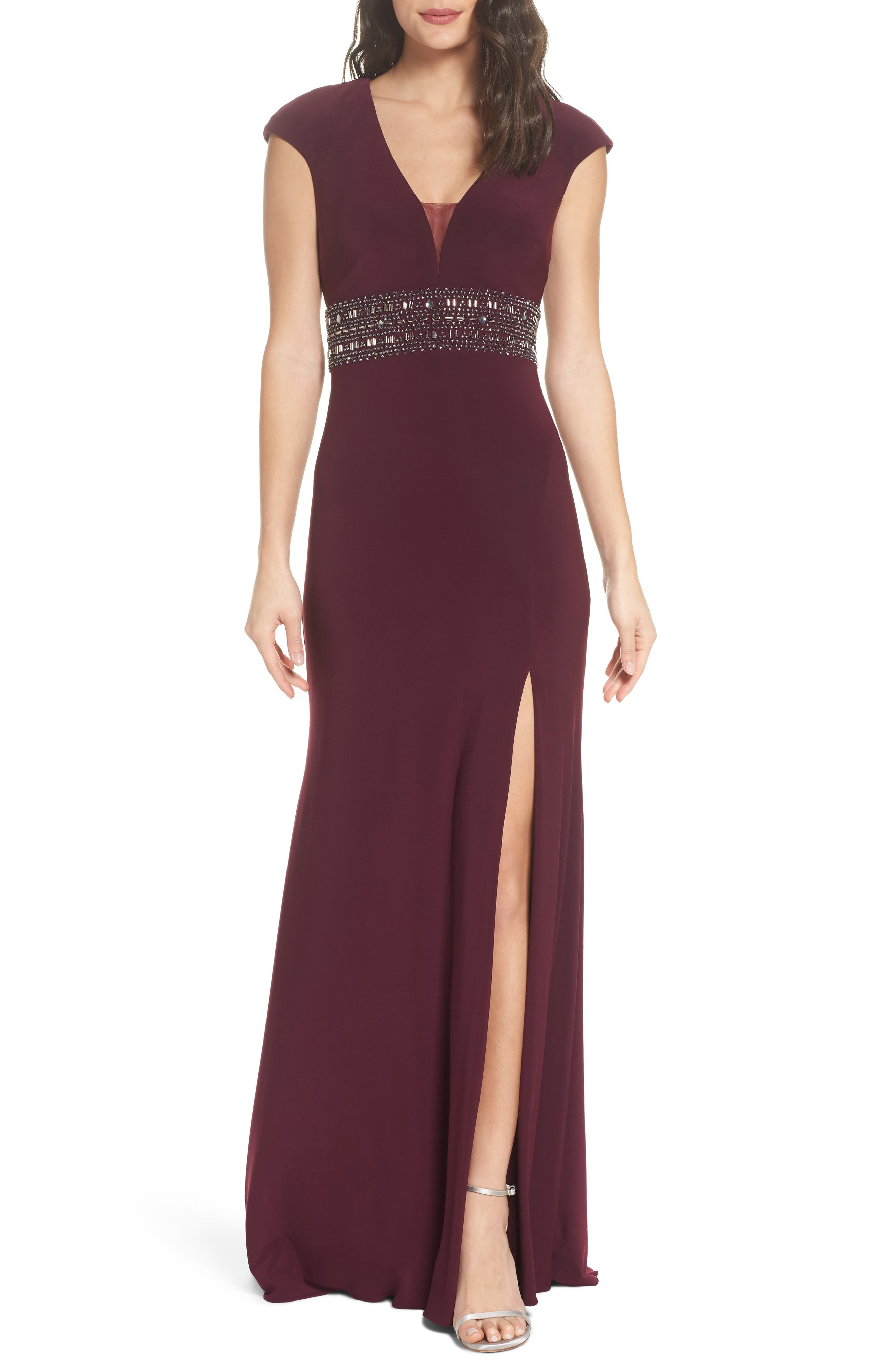 Bead Embellished Cap Sleeve Gown,                             Main thumbnail 1, color,                             930