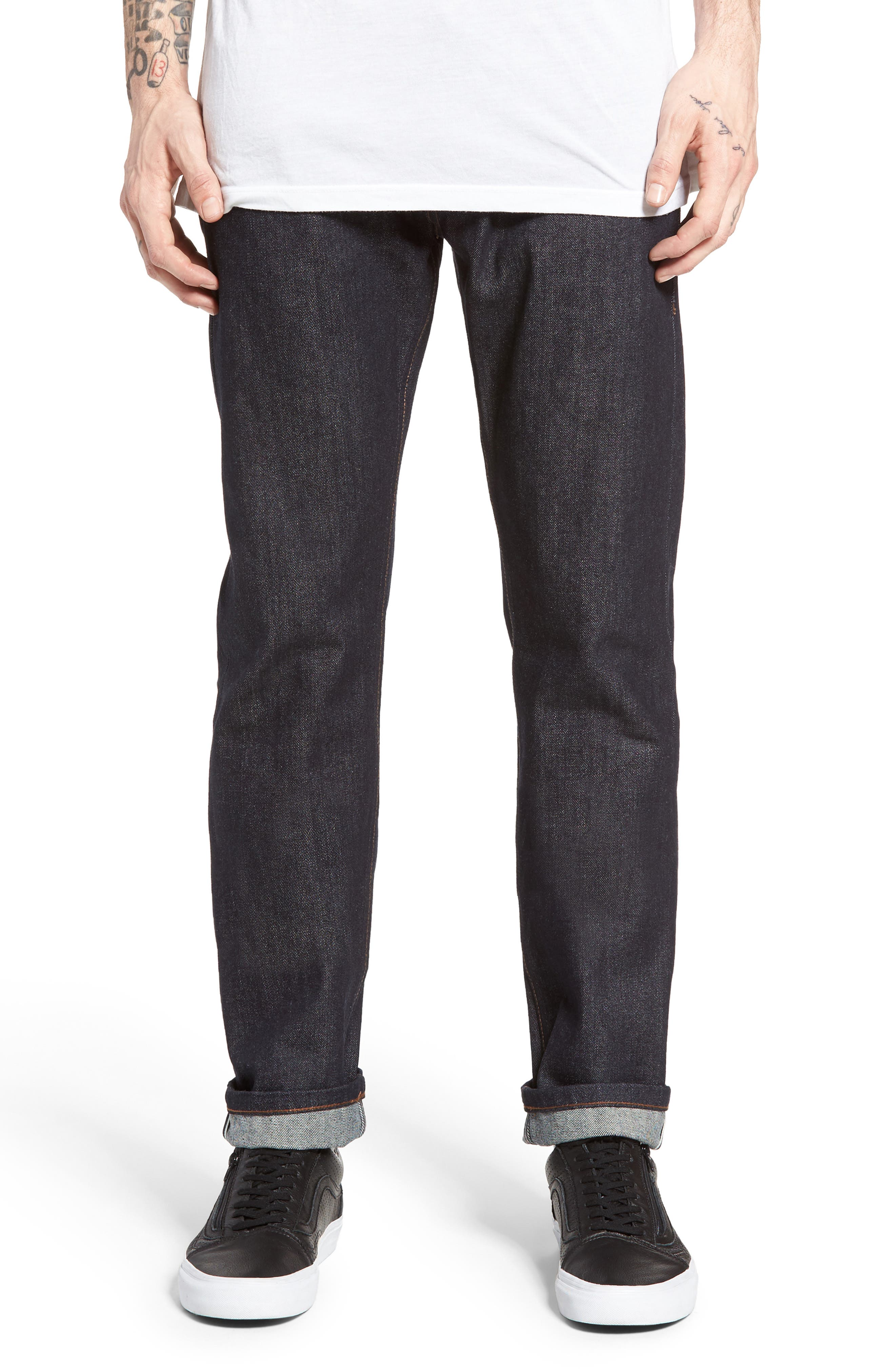 UB201 Tapered Fit Raw Selvedge Jeans,                             Main thumbnail 1, color,                             INDIGO