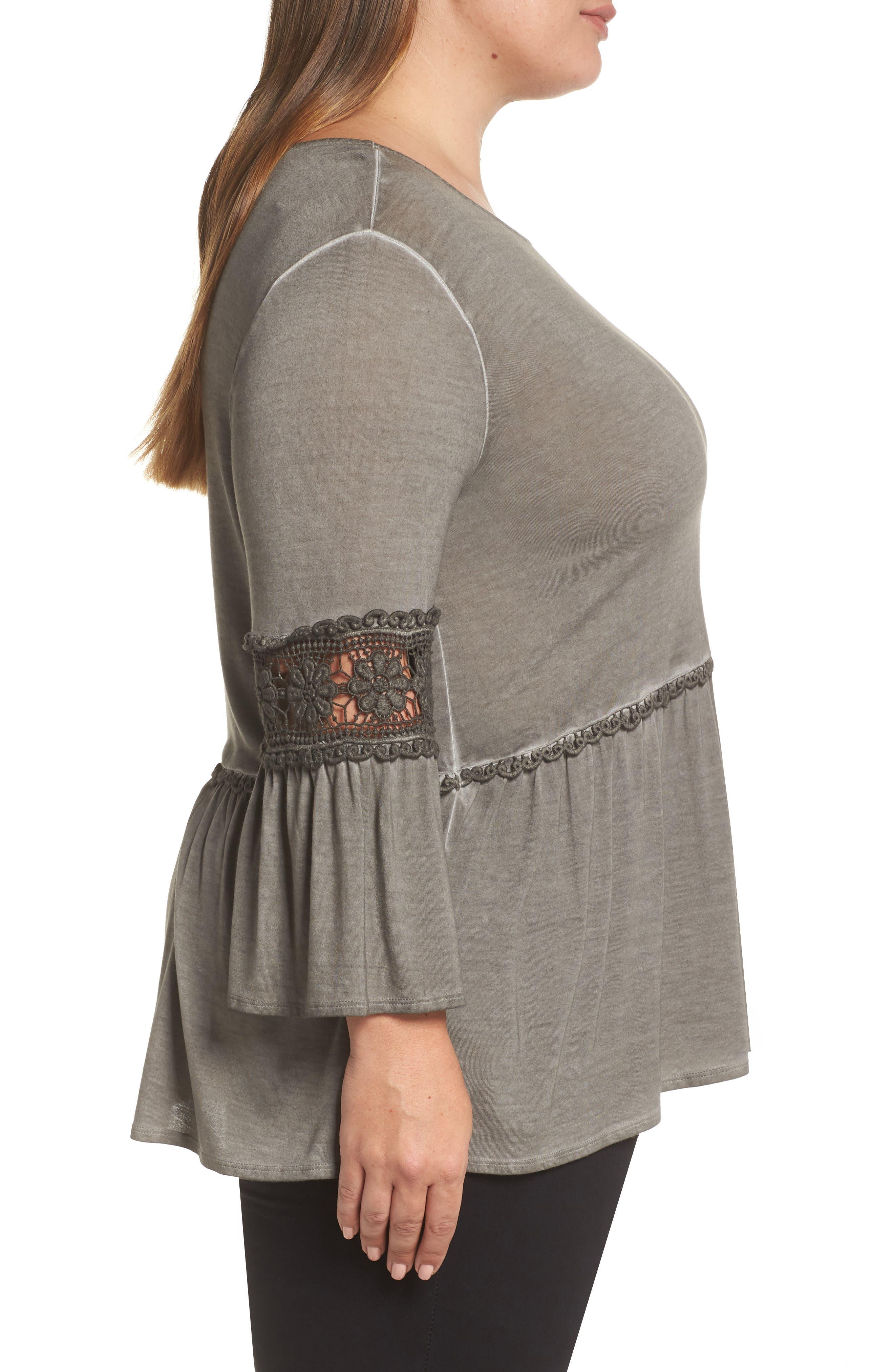 DANTELLE,                             Oil Dye Knit Lace Inset Top,                             Alternate thumbnail 3, color,                             FALCON
