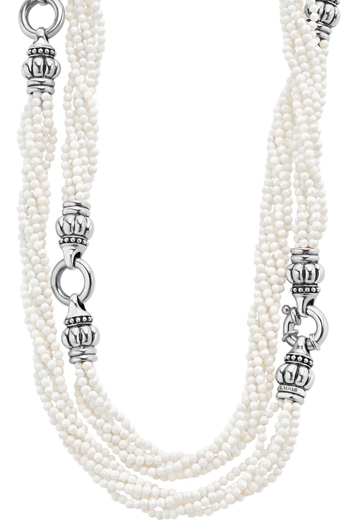 'Black & White Caviar' Agate Multistrand Necklace,                             Alternate thumbnail 3, color,                             101