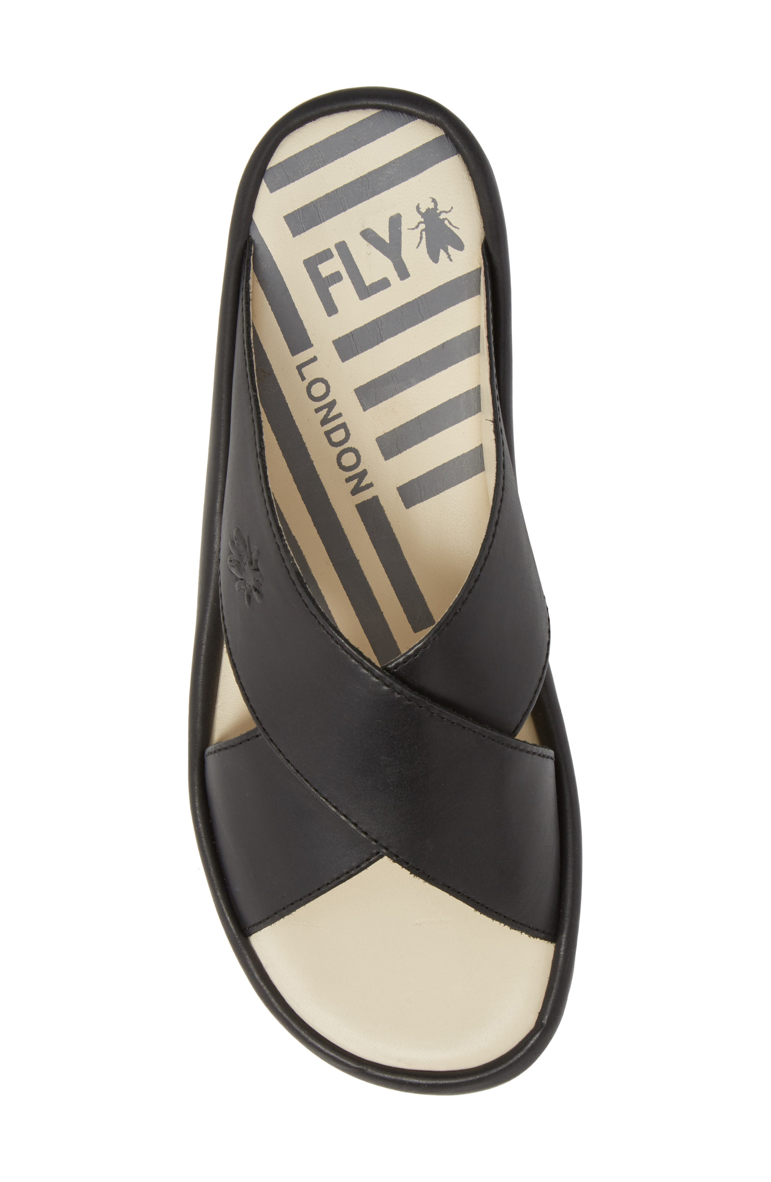 Begs Platform Slide Sandal,                             Alternate thumbnail 5, color,                             BLACK RUG LEATHER