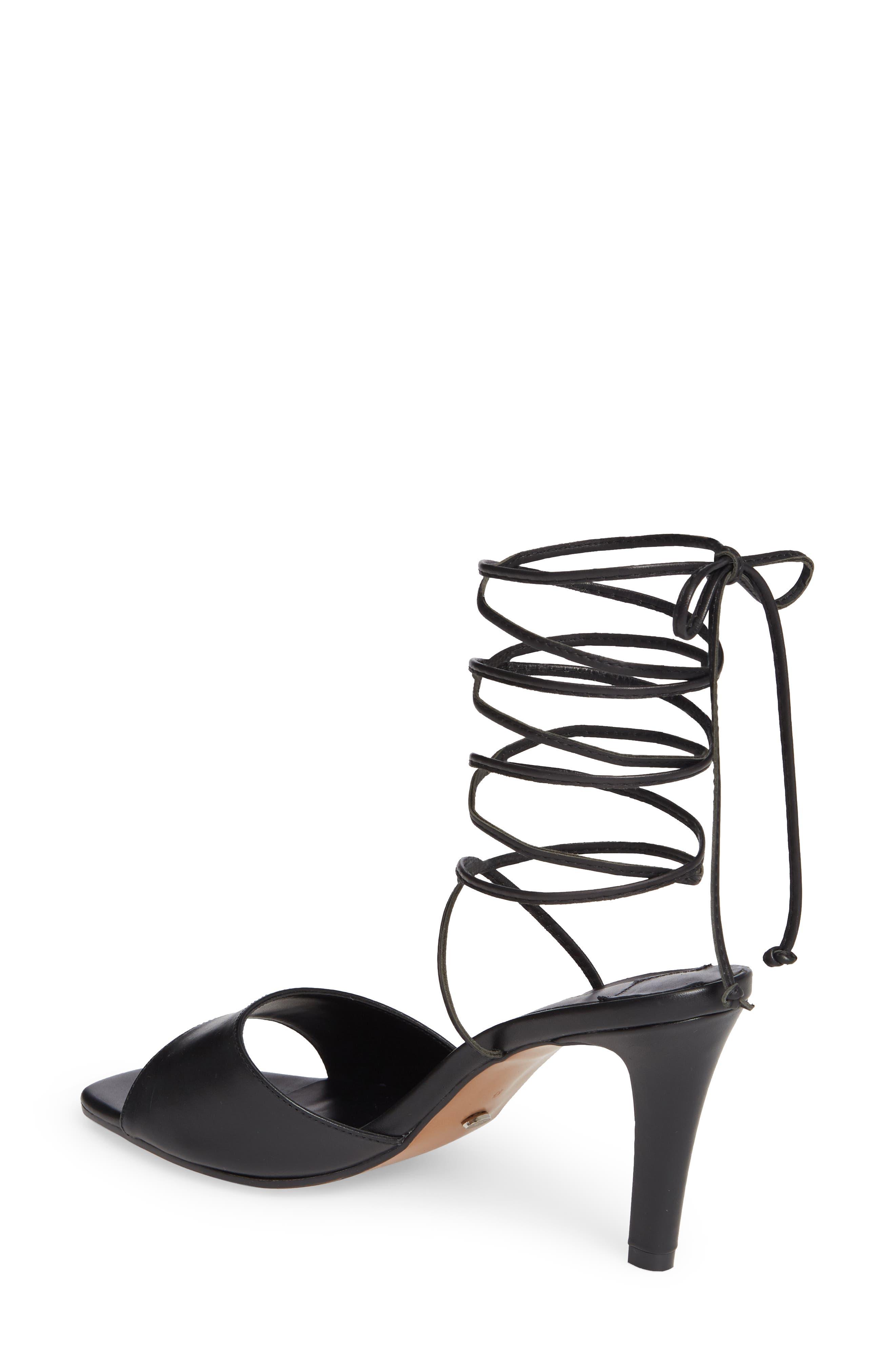 Ruffian Wraparound Sandal,                             Alternate thumbnail 2, color,                             BLACK COMO