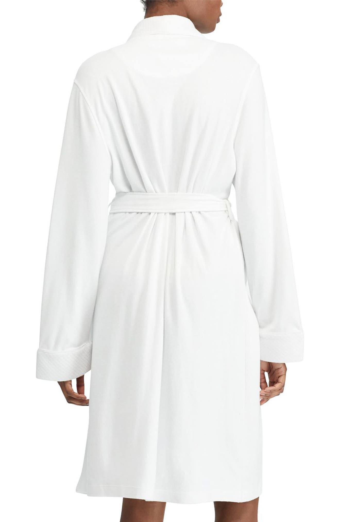 Quilted Collar Robe,                             Alternate thumbnail 3, color,                             WHITE