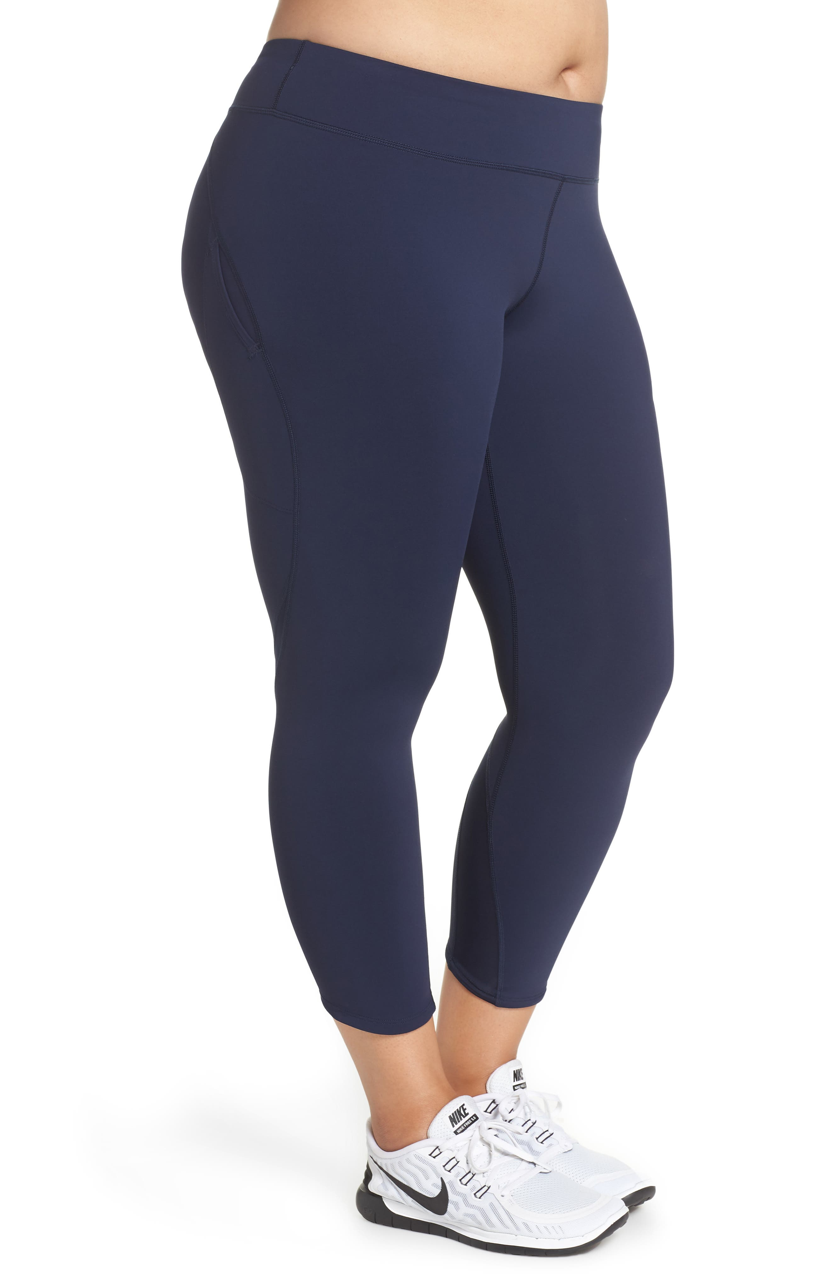 Power Epic Lux Crop Running Tights,                             Alternate thumbnail 3, color,                             OBSIDIAN