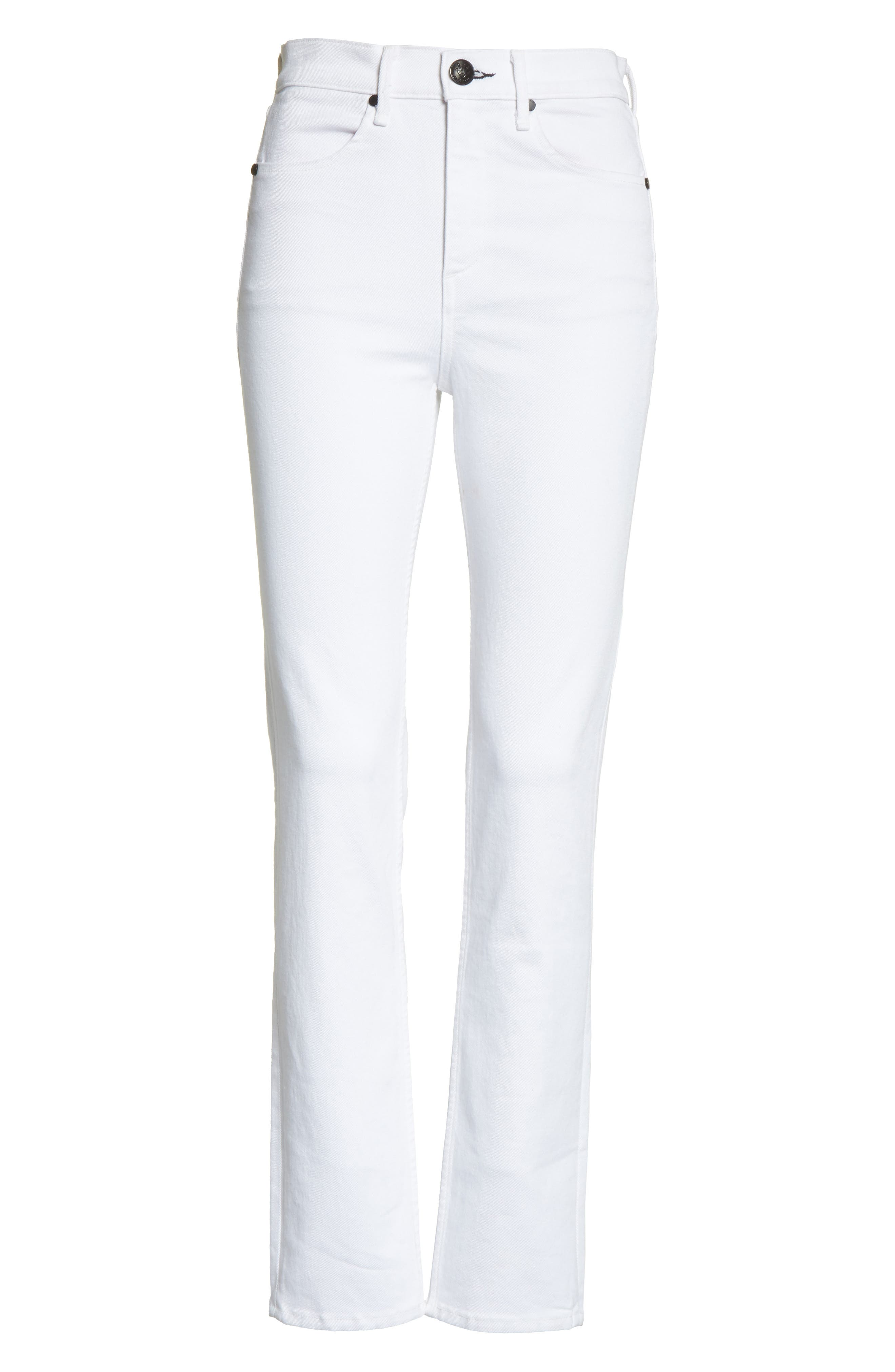 High Waist Ankle Skinny Jeans,                             Alternate thumbnail 7, color,                             100